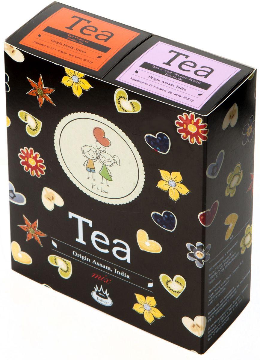 Подарочный набор Royal T-Stick: Rooibos Tea красный чай и Forest Fruits Tea черный чай в стиках, 30 шт2120Подарочный набор из 2- пачек чая премиум класса,упакован в коробку для транспортировки. Ройбош натуральный чай из листьев южноафриканского кустарника. Обладает сладковатым вкусом, с едва уловимыми ореховыми нотами. Чай обладает тонизирующим и бодрящим свойством. Снижает аппетит.Рекомендуется людям контролирующим свою массу тела. Чай Асам с ароматом лесных ягод порадует Вас своим сладким фруктовым вкусом и ароматом лесных ягод и фруктов. Богат антиоксидантами, способствующих нейтрализации токсинов в нашем организме. Чай упакован в пищевую фольгу, которую можно использовать вместо ложечки для размешивания сахара. Опустите стик в кипяток, оставьте на 3 минуты, размешайте кусочек сахара. Достаньте стик из стакана, потрясите им о край стакана, так, чтобы стекли последние капли, и положите рядом. Вся влага останется внутри стика.Прекрасный подарок родным и близким,и отличный повод удивить коллег по работе и друзей, внедряя новую, элегантную культуру чаепития!