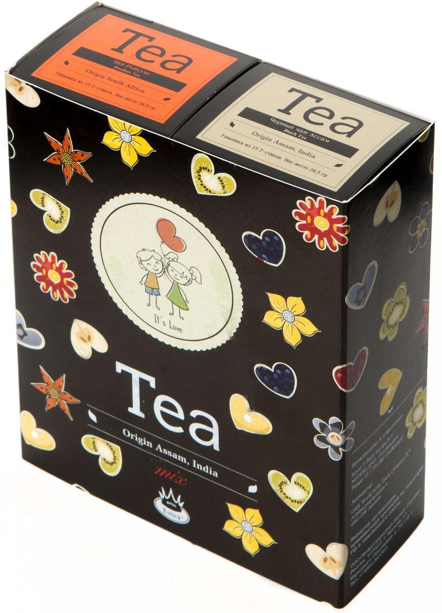 Подарочный набор Royal T-Stick: Rooibos Tea красный чай и High Tea черный чай в стиках, 30 шт2122Подарочный набор из 2- пачек чая премиум класса,упакован в коробку для транспортировки. Ройбош натуральный чай из листьев южноафриканского кустарника. Обладает сладковатым вкусом, с едва уловимыми ореховыми нотами. Чай обладает тонизирующим и бодрящим свойством. Снижает аппетит.Рекомендуется людям контролирующим свою массу тела. Чай Ассам порадует вас насыщенным ,янтарно -красным цветом, терпким ароматом и пряным, солодово-медовым вкусом . Чай упакован в пищевую фольгу, которую можно использовать вместо ложечки для размешивания сахара. Опустите стик в кипяток, оставьте на 3 минуты, размешайте кусочек сахара. Достаньте стик из стакана, потрясите им о край стакана, так, чтобы стекли последние капли, и положите рядом. Вся влага останется внутри стика.Прекрасный подарок родным и близким,и отличный повод удивить коллег по работе и друзей, внедряя новую, элегантную культуру чаепития!