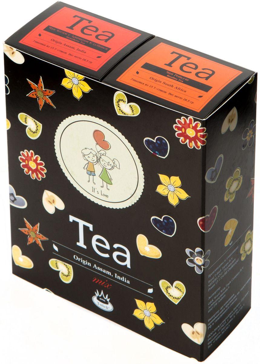 Подарочный набор Royal T-Stick: Rooibos Tea красный чай и Strawberry Tea черный чай в стиках, 30 шт2123Подарочный набор из 2- пачек чая премиум класса,упакован в коробку для транспортировки. Ройбош натуральный чай из листьев южноафриканского кустарника. Обладает сладковатым вкусом, с едва уловимыми ореховыми нотами. Чай обладает тонизирующим и бодрящим свойством. Снижает аппетит.Рекомендуется людям контролирующим свою массу тела. Натуральный черный чай с ароматом клубники порадует вас золотисто-медовым цветом, тонким ароматом клубники, который создается путем смешивания реальных кусочков клубники и индийского чая из штата Ассам. Чай упакован в пищевую фольгу, которую можно использовать вместо ложечки для размешивания сахара. Опустите стик в кипяток, оставьте на 3 минуты, размешайте кусочек сахара. Достаньте стик из стакана, потрясите им о край стакана, так, чтобы стекли последние капли, и положите рядом. Вся влага останется внутри стика.Прекрасный подарок родным и близким,и отличный повод удивить коллег по работе и друзей, внедряя новую, элегантную культуру чаепития!