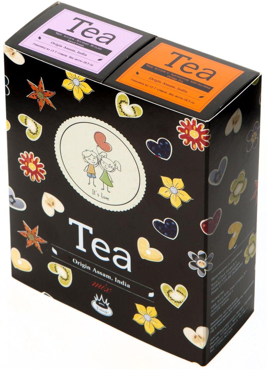 Подарочный набор Royal T-Stick: Forest Fruits Tea черный чай и Orange Tea черный чай в стиках, 30 шт2125Подарочный набор из 2- пачек чая премиум класса,упакован в коробку для транспортировки. Чай Асам с ароматом лесных ягод порадует Вас своим сладким фруктовым вкусом и ароматом лесных ягод и фруктов. Богат антиоксидантами, способствующих нейтрализации токсинов в нашем организме. Натуральный черный чай с ароматом апельсина порадует вас золотисто-медовым цветом, тонким ароматом персика и изысканным пряным вкусом , который создается путем смешивания реальных кусочков апельсина и индийского чая из штата Ассам. Чай упакован в пищевую фольгу, которую можно использовать вместо ложечки для размешивания сахара. Опустите стик в кипяток, оставьте на 3 минуты, размешайте кусочек сахара. Достаньте стик из стакана, потрясите им о край стакана, так, чтобы стекли последние капли, и положите рядом. Вся влага останется внутри стика.Прекрасный подарок родным и близким,и отличный повод удивить коллег по работе и друзей, внедряя новую, элегантную культуру чаепития!