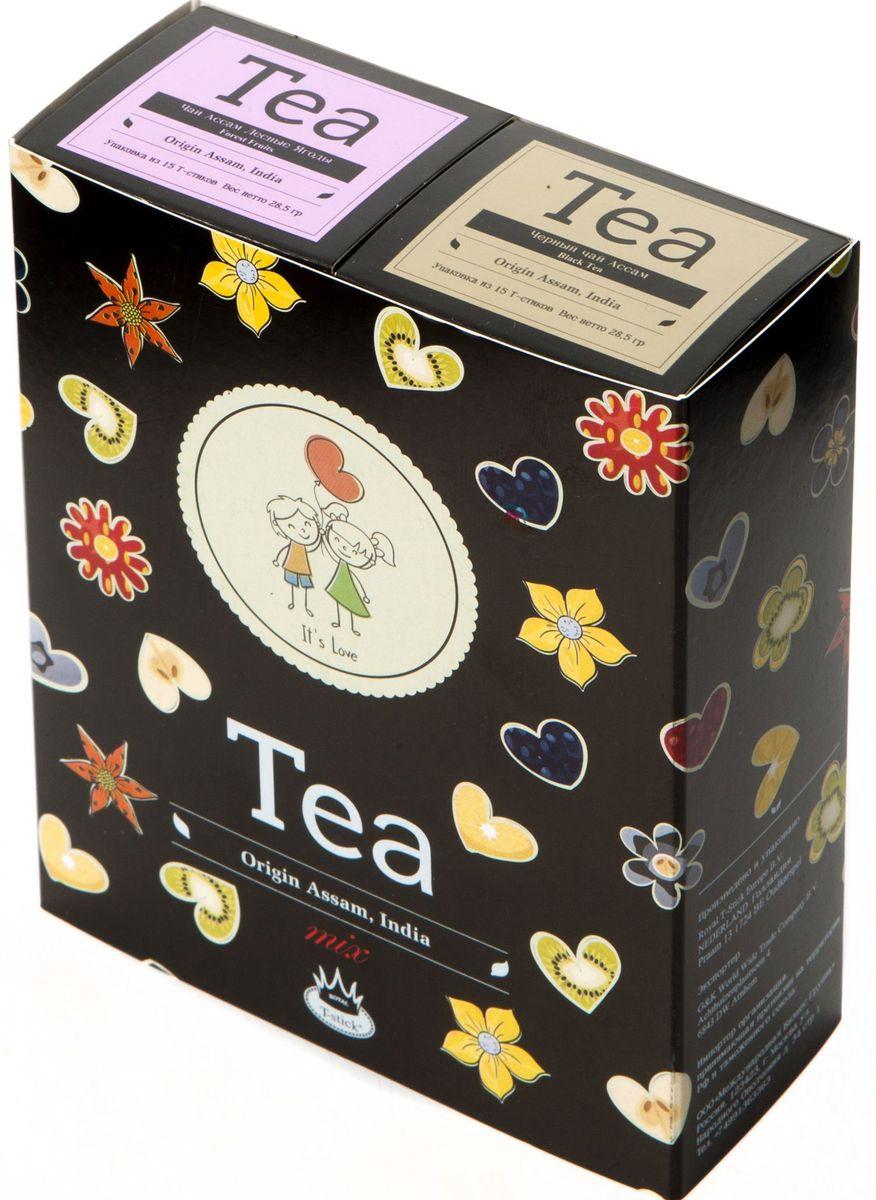 Подарочный набор Royal T-Stick: Forest Fruits Tea черный чай и High Tea черный чай в стиках, 30 шт2126Подарочный набор из 2- пачек чая премиум класса,упакован в коробку для транспортировки. Чай Асам с ароматом лесных ягод порадует Вас своим сладким фруктовым вкусом и ароматом лесных ягод и фруктов. Богат антиоксидантами, способствующих нейтрализации токсинов в нашем организме. Чай Ассам порадует вас насыщенным ,янтарно -красным цветом, терпким ароматом и пряным, солодово-медовым вкусом . Чай упакован в пищевую фольгу, которую можно использовать вместо ложечки для размешивания сахара. Опустите стик в кипяток, оставьте на 3 минуты, размешайте кусочек сахара. Достаньте стик из стакана, потрясите им о край стакана, так, чтобы стекли последние капли, и положите рядом. Вся влага останется внутри стика.Прекрасный подарок родным и близким,и отличный повод удивить коллег по работе и друзей, внедряя новую, элегантную культуру чаепития!