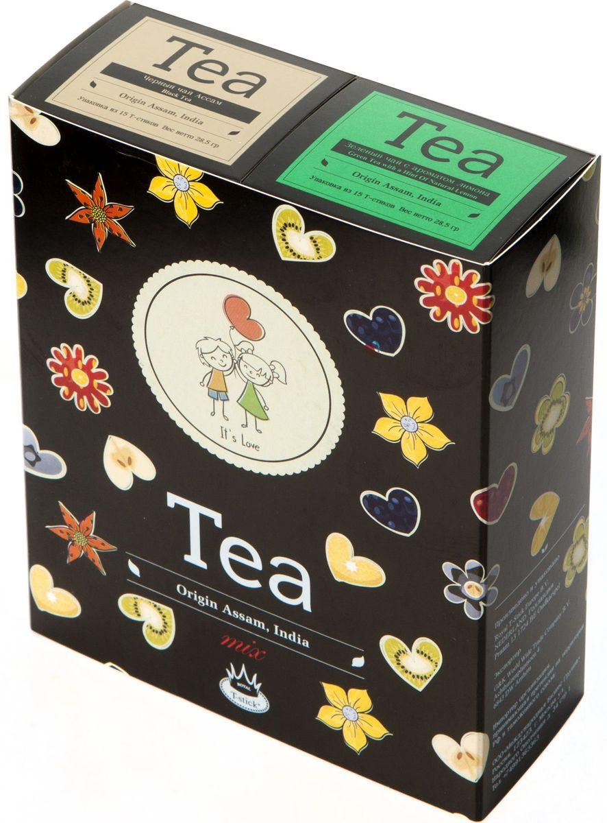 Подарочный набор Royal T-Stick: Green Tea with a Hint of Natural Lemon зеленый чай и High Tea черный чай в стиках, 30 шт2132Подарочный набор из 2- пачек чая премиум класса,упакован в коробку для транспортировки. Зеленый чай с ароматом лимона порадует Вас своим золотистым цветом ,нежным ароматом лимона и освежающим послевкусием.Обогащение зеленого чая ароматом лимона усиливает полезные свойства природных антиоксидантов. Чай Ассам порадует вас насыщенным ,янтарно -красным цветом, терпким ароматом и пряным, солодово-медовым вкусом . Чай упакован в пищевую фольгу, которую можно использовать вместо ложечки для размешивания сахара. Опустите стик в кипяток, оставьте на 3 минуты, размешайте кусочек сахара. Достаньте стик из стакана, потрясите им о край стакана, так, чтобы стекли последние капли, и положите рядом. Вся влага останется внутри стика.Прекрасный подарок родным и близким,и отличный повод удивить коллег по работе и друзей, внедряя новую, элегантную культуру чаепития!