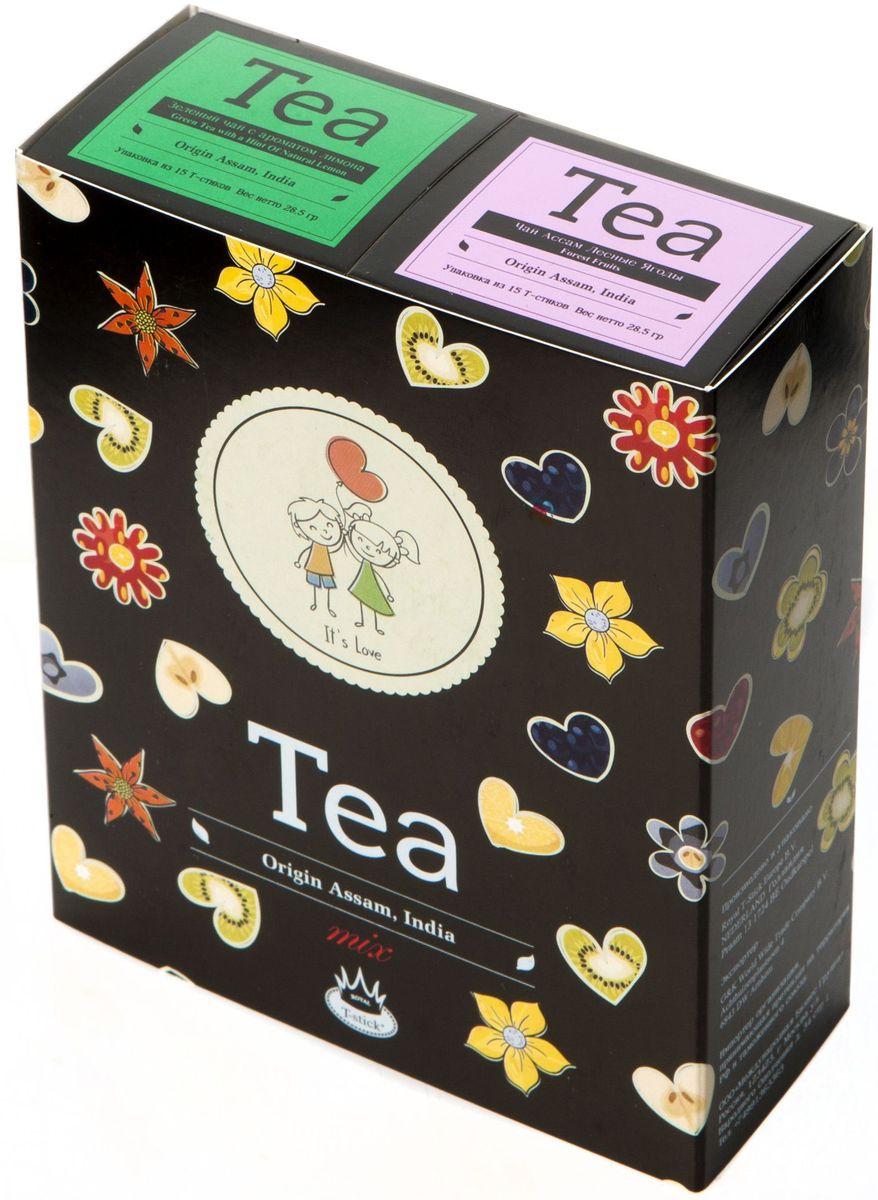 Подарочный набор Royal T-Stick: Green Tea with a Hint of Natural Lemon зеленый чай и Forest Fruits Tea черный чай в стиках, 30 шт2136Подарочный набор из 2- пачек чая премиум класса,упакован в коробку для транспортировки. Зеленый чай с ароматом лимона порадует Вас своим золотистым цветом ,нежным ароматом лимона и освежающим послевкусием.Обогащение зеленого чая ароматом лимона усиливает полезные свойства природных антиоксидантов. Чай Асам с ароматом лесных ягод порадует Вас своим сладким фруктовым вкусом и ароматом лесных ягод и фруктов. Богат антиоксидантами, способствующих нейтрализации токсинов в нашем организме. Чай упакован в пищевую фольгу, которую можно использовать вместо ложечки для размешивания сахара. Опустите стик в кипяток, оставьте на 3 минуты, размешайте кусочек сахара. Достаньте стик из стакана, потрясите им о край стакана, так, чтобы стекли последние капли, и положите рядом. Вся влага останется внутри стика.Прекрасный подарок родным и близким,и отличный повод удивить коллег по работе и друзей, внедряя новую, элегантную культуру чаепития!