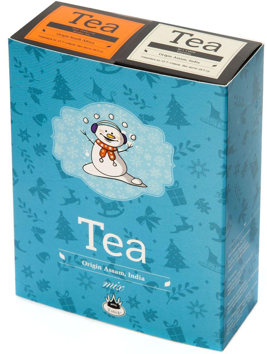 Подарочный набор Royal T-Stick: Earl Grey черный чай и Rooibos Tea красный чай в стиках, 30 шт77104Подарочный набор из 2- пачек чая премиум класса,упакован в коробку для транспортировки. Чай Ассам с бергамотом порадует вас насыщенным ,янтарно -красным цветом, терпким ароматом бергамота и пряным, солодово-медовым вкусом . Чай обладает тонизирующим свойством. Ройбош натуральный чай из листьев южноафриканского кустарника. Обладает сладковатым вкусом, с едва уловимыми ореховыми нотами. Чай обладает тонизирующим и бодрящим свойством. Снижает аппетит.Рекомендуется людям контролирующим свою массу тела. Чай упакован в пищевую фольгу, которую можно использовать вместо ложечки для размешивания сахара. Опустите стик в кипяток, оставьте на 3 минуты, размешайте кусочек сахара. Достаньте стик из стакана, потрясите им о край стакана, так, чтобы стекли последние капли, и положите рядом. Вся влага останется внутри стика.Прекрасный подарок родным и близким,и отличный повод удивить коллег по работе и друзей, внедряя новую, элегантную культуру чаепития!