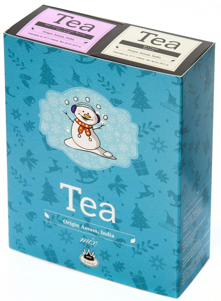 Подарочный набор Royal T-Stick: Earl Grey черный чай и Forest Fruits Tea черный чай в стиках, 30 шт77105Подарочный набор из 2- пачек чая премиум класса,упакован в коробку для транспортировки. Чай Ассам с бергамотом порадует вас насыщенным ,янтарно -красным цветом, терпким ароматом бергамота и пряным, солодово-медовым вкусом . Чай обладает тонизирующим свойством. Чай Асам с ароматом лесных ягод порадует Вас своим сладким фруктовым вкусом и ароматом лесных ягод и фруктов. Богат антиоксидантами, способствующих нейтрализации токсинов в нашем организме. Чай упакован в пищевую фольгу, которую можно использовать вместо ложечки для размешивания сахара. Опустите стик в кипяток, оставьте на 3 минуты, размешайте кусочек сахара. Достаньте стик из стакана, потрясите им о край стакана, так, чтобы стекли последние капли, и положите рядом. Вся влага останется внутри стика.Прекрасный подарок родным и близким,и отличный повод удивить коллег по работе и друзей, внедряя новую, элегантную культуру чаепития!