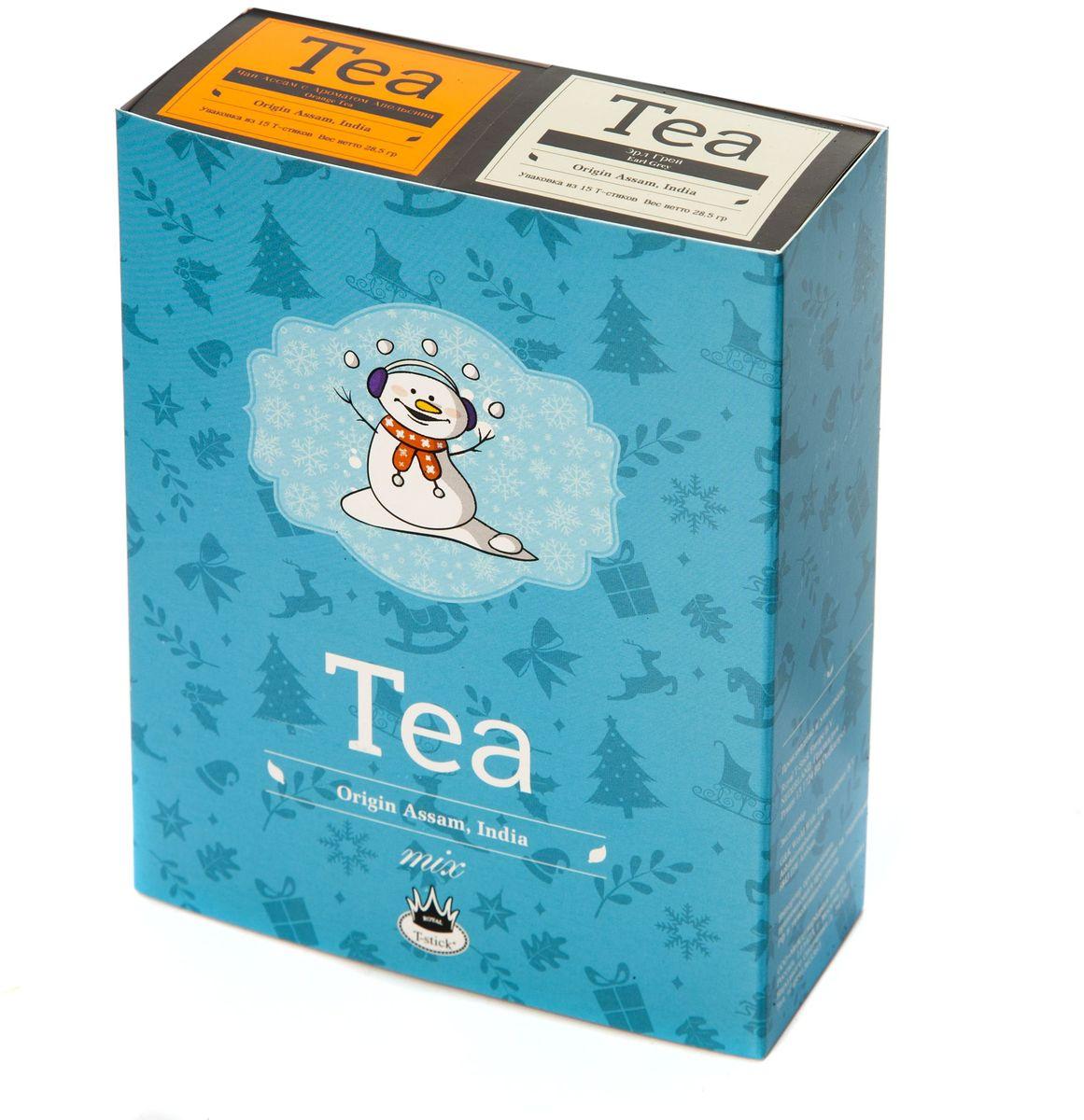 Подарочный набор Royal T-Stick: Earl Grey черный чай и Orange Tea черный чай в стиках, 30 шт77106Подарочный набор из 2- пачек чая премиум класса,упакован в коробку для транспортировки. Чай Ассам с бергамотом порадует вас насыщенным ,янтарно -красным цветом, терпким ароматом бергамота и пряным, солодово-медовым вкусом . Чай обладает тонизирующим свойством. Натуральный черный чай с ароматом апельсина порадует вас золотисто-медовым цветом, тонким ароматом персика и изысканным пряным вкусом , который создается путем смешивания реальных кусочков апельсина и индийского чая из штата Ассам. Чай упакован в пищевую фольгу, которую можно использовать вместо ложечки для размешивания сахара. Опустите стик в кипяток, оставьте на 3 минуты, размешайте кусочек сахара. Достаньте стик из стакана, потрясите им о край стакана, так, чтобы стекли последние капли, и положите рядом. Вся влага останется внутри стика.Прекрасный подарок родным и близким,и отличный повод удивить коллег по работе и друзей, внедряя новую, элегантную культуру чаепития!
