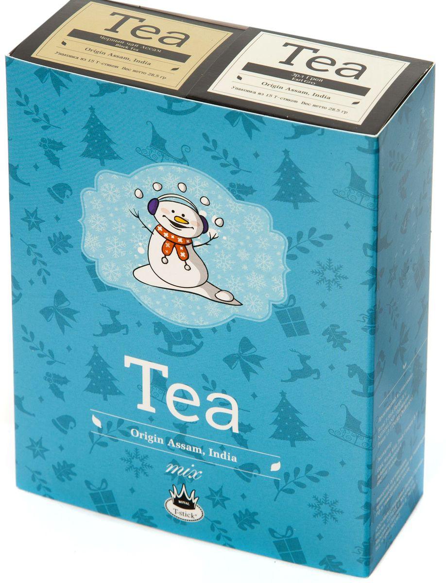 Подарочный набор Royal T-Stick: Earl Grey черный чай и High Tea черный чай в стиках, 30 шт77107Подарочный набор из 2 пачек чая премиум класса упакован в коробку для транспортировки. Чай Ассам с бергамотом порадует вас насыщенным янтарно- красным цветом, терпким ароматом бергамота и пряным, солодово-медовым вкусом. Чай обладает тонизирующим свойством. Чай Ассам порадует вас насыщенным янтарно-красным цветом, терпким ароматом и пряным, солодово- медовым вкусом. Чай упакован в пищевую фольгу, которую можно использовать вместо ложечки для размешивания сахара. Опустите стик в кипяток, оставьте на 3 минуты, размешайте кусочек сахара. Достаньте стик из стакана, потрясите им о край стакана, так, чтобы стекли последние капли, и положите рядом. Вся влага останется внутри стика. Прекрасный подарок родным и близким и отличный повод удивить коллег по работе и друзей, внедряя новую, элегантную культуру чаепития!