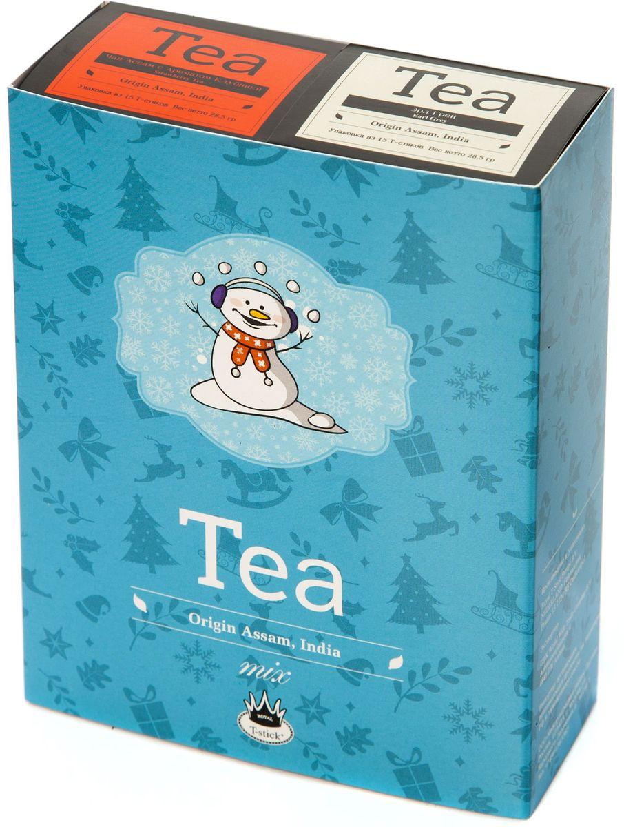 Подарочный набор Royal T-Stick: Earl Grey черный чай и Strawberry Tea черный чай в стиках, 30 шт77108Подарочный набор из 2- пачек чая премиум класса,упакован в коробку для транспортировки. Чай Ассам с бергамотом порадует вас насыщенным ,янтарно -красным цветом, терпким ароматом бергамота и пряным, солодово-медовым вкусом . Чай обладает тонизирующим свойством. Натуральный черный чай с ароматом клубники порадует вас золотисто-медовым цветом, тонким ароматом клубники, который создается путем смешивания реальных кусочков клубники и индийского чая из штата Ассам. Чай упакован в пищевую фольгу, которую можно использовать вместо ложечки для размешивания сахара. Опустите стик в кипяток, оставьте на 3 минуты, размешайте кусочек сахара. Достаньте стик из стакана, потрясите им о край стакана, так, чтобы стекли последние капли, и положите рядом. Вся влага останется внутри стика.Прекрасный подарок родным и близким,и отличный повод удивить коллег по работе и друзей, внедряя новую, элегантную культуру чаепития!