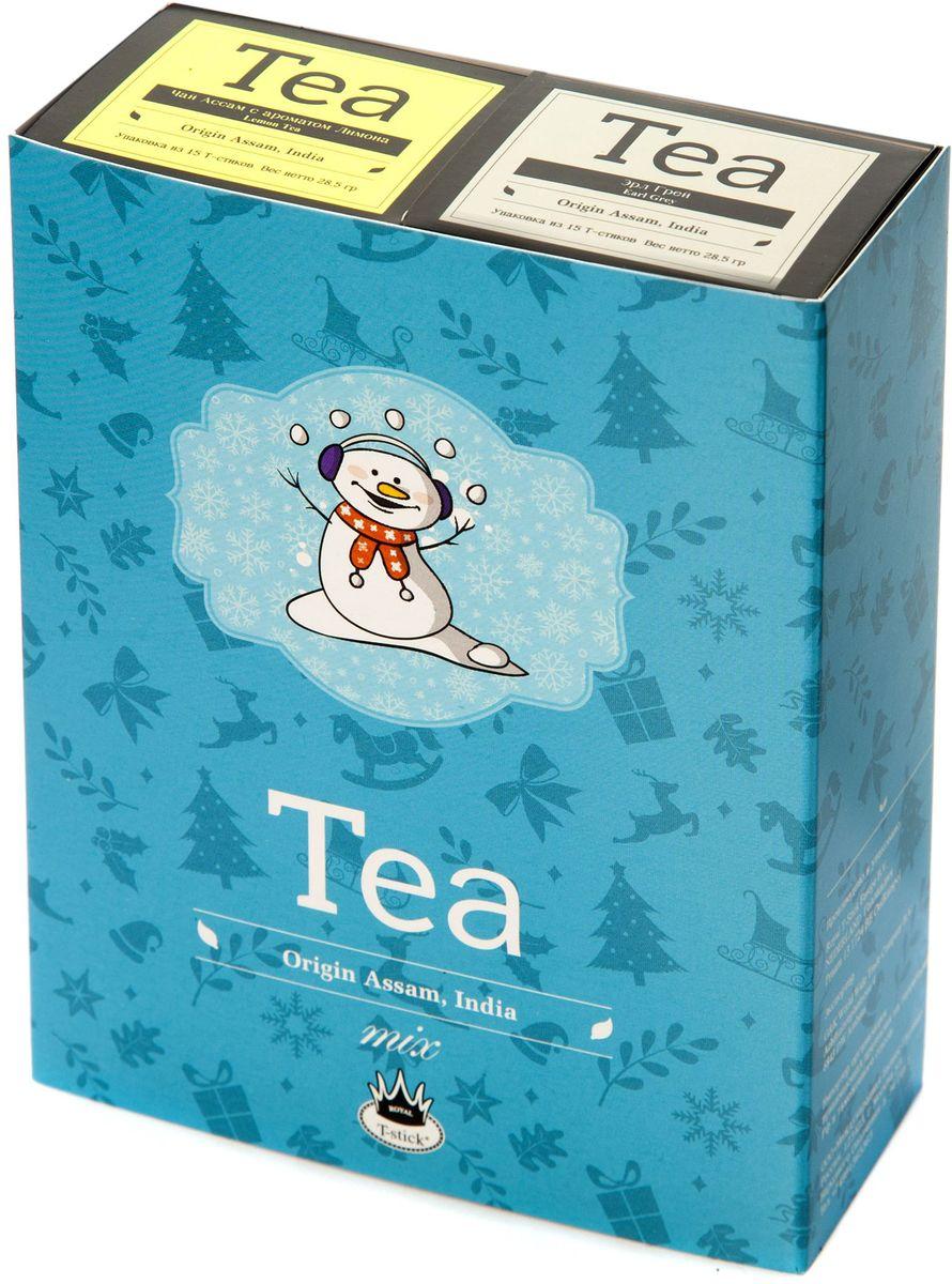 Подарочный набор Royal T-Stick: Earl Grey черный чай и Lemon Tea черный чай в стиках, 30 шт77109Подарочный набор из 2- пачек чая премиум класса,упакован в коробку для транспортировки. Чай Ассам с бергамотом порадует вас насыщенным ,янтарно -красным цветом, терпким ароматом бергамота и пряным, солодово-медовым вкусом . Чай обладает тонизирующим свойством. Натуральный черный чай с ароматом лимона порадует вас золотисто-медовым цветом, тонким ароматом лимона, который создается путем смешивания реального лимона и индийского чая из штата Ассам. Чай упакован в пищевую фольгу, которую можно использовать вместо ложечки для размешивания сахара. Опустите стик в кипяток, оставьте на 3 минуты, размешайте кусочек сахара. Достаньте стик из стакана, потрясите им о край стакана, так, чтобы стекли последние капли, и положите рядом. Вся влага останется внутри стика.Прекрасный подарок родным и близким,и отличный повод удивить коллег по работе и друзей, внедряя новую, элегантную культуру чаепития!