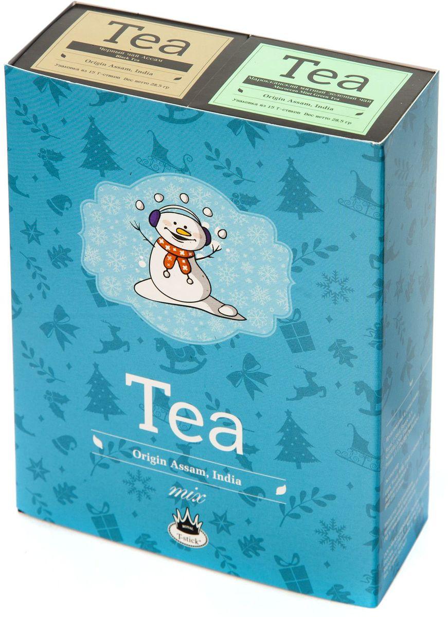 Подарочный набор Royal T-Stick: Mint Green Tea зеленый чай и High Tea черный чай в стиках, 30 шт77110Подарочный набор из 2- пачек чая премиум класса,упакован в коробку для транспортировки. Натуральный зеленый чай с ароматом мяты порадует вас своим тонким и нежным вкусом. Способствует расщеплению жиров и успокаивает нервную систему. Чай Ассам порадует вас насыщенным ,янтарно -красным цветом, терпким ароматом и пряным, солодово-медовым вкусом . Чай упакован в пищевую фольгу, которую можно использовать вместо ложечки для размешивания сахара. Опустите стик в кипяток, оставьте на 3 минуты, размешайте кусочек сахара. Достаньте стик из стакана, потрясите им о край стакана, так, чтобы стекли последние капли, и положите рядом. Вся влага останется внутри стика.Прекрасный подарок родным и близким,и отличный повод удивить коллег по работе и друзей, внедряя новую, элегантную культуру чаепития!