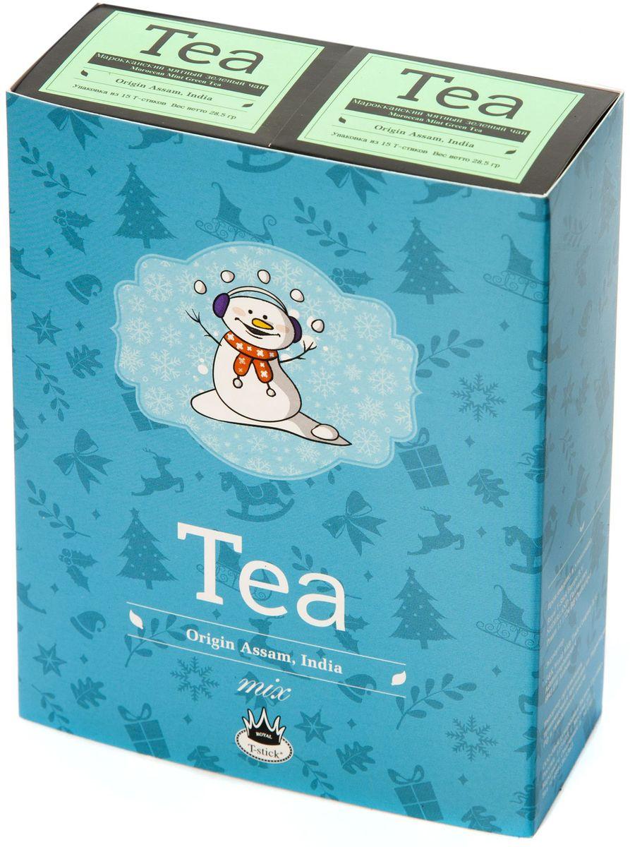 Подарочный набор Royal T-Stick: Mint Green Tea зеленый чай и Mint Green Tea зеленый чай в стиках, 30 шт77113Подарочный набор из 2- пачек чая премиум класса,упакован в коробку для транспортировки. Натуральный зеленый чай с ароматом мяты порадует вас своим тонким и нежным вкусом. Способствует расщеплению жиров и успокаивает нервную систему. Чай упакован в пищевую фольгу, которую можно использовать вместо ложечки для размешивания сахара. Опустите стик в кипяток, оставьте на 3 минуты, размешайте кусочек сахара. Достаньте стик из стакана, потрясите им о край стакана, так, чтобы стекли последние капли, и положите рядом. Вся влага останется внутри стика.Прекрасный подарок родным и близким,и отличный повод удивить коллег по работе и друзей, внедряя новую, элегантную культуру чаепития!