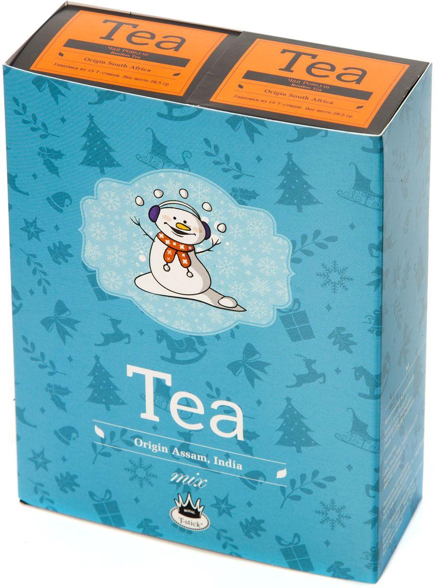 Подарочный набор Royal T-Stick: Rooibos Tea красный чай и Rooibos Tea красный чай в стиках, 30 шт77114Подарочный набор из 2- пачек чая премиум класса,упакован в коробку для транспортировки. Ройбош натуральный чай из листьев южноафриканского кустарника. Обладает сладковатым вкусом, с едва уловимыми ореховыми нотами. Чай обладает тонизирующим и бодрящим свойством. Снижает аппетит.Рекомендуется людям контролирующим свою массу тела. Чай упакован в пищевую фольгу, которую можно использовать вместо ложечки для размешивания сахара. Опустите стик в кипяток, оставьте на 3 минуты, размешайте кусочек сахара. Достаньте стик из стакана, потрясите им о край стакана, так, чтобы стекли последние капли, и положите рядом. Вся влага останется внутри стика.Прекрасный подарок родным и близким,и отличный повод удивить коллег по работе и друзей, внедряя новую, элегантную культуру чаепития!
