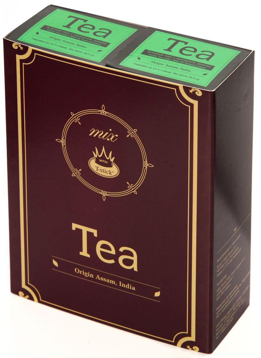 Подарочный набор Royal T-Stick: Green Tea with a Hint of Natural Lemon зеленый чай и Green Tea with a Hint of Natural Lemon зеленый чай в стиках, 30 шт77300Подарочный набор из 2- пачек чая премиум класса,упакован в коробку для транспортировки. Зеленый чай с ароматом лимона порадует Вас своим золотистым цветом ,нежным ароматом лимона и освежающим послевкусием.Обогащение зеленого чая ароматом лимона усиливает полезные свойства природных антиоксидантов. Чай упакован в пищевую фольгу, которую можно использовать вместо ложечки для размешивания сахара. Опустите стик в кипяток, оставьте на 3 минуты, размешайте кусочек сахара. Достаньте стик из стакана, потрясите им о край стакана, так, чтобы стекли последние капли, и положите рядом. Вся влага останется внутри стика.Прекрасный подарок родным и близким,и отличный повод удивить коллег по работе и друзей, внедряя новую, элегантную культуру чаепития!