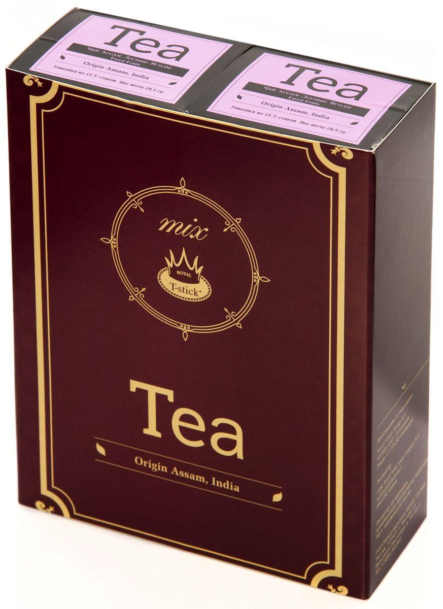 Подарочный набор Royal T-Stick: Forest Fruits Tea черный чай и Forest Fruits Tea черный чай в стиках, 30 шт77420Подарочный набор из 2- пачек чая премиум класса,упакован в коробку для транспортировки. Чай Асам с ароматом лесных ягод порадует Вас своим сладким фруктовым вкусом и ароматом лесных ягод и фруктов. Богат антиоксидантами, способствующих нейтрализации токсинов в нашем организме. Чай упакован в пищевую фольгу, которую можно использовать вместо ложечки для размешивания сахара. Опустите стик в кипяток, оставьте на 3 минуты, размешайте кусочек сахара. Достаньте стик из стакана, потрясите им о край стакана, так, чтобы стекли последние капли, и положите рядом. Вся влага останется внутри стика.Прекрасный подарок родным и близким,и отличный повод удивить коллег по работе и друзей, внедряя новую, элегантную культуру чаепития!