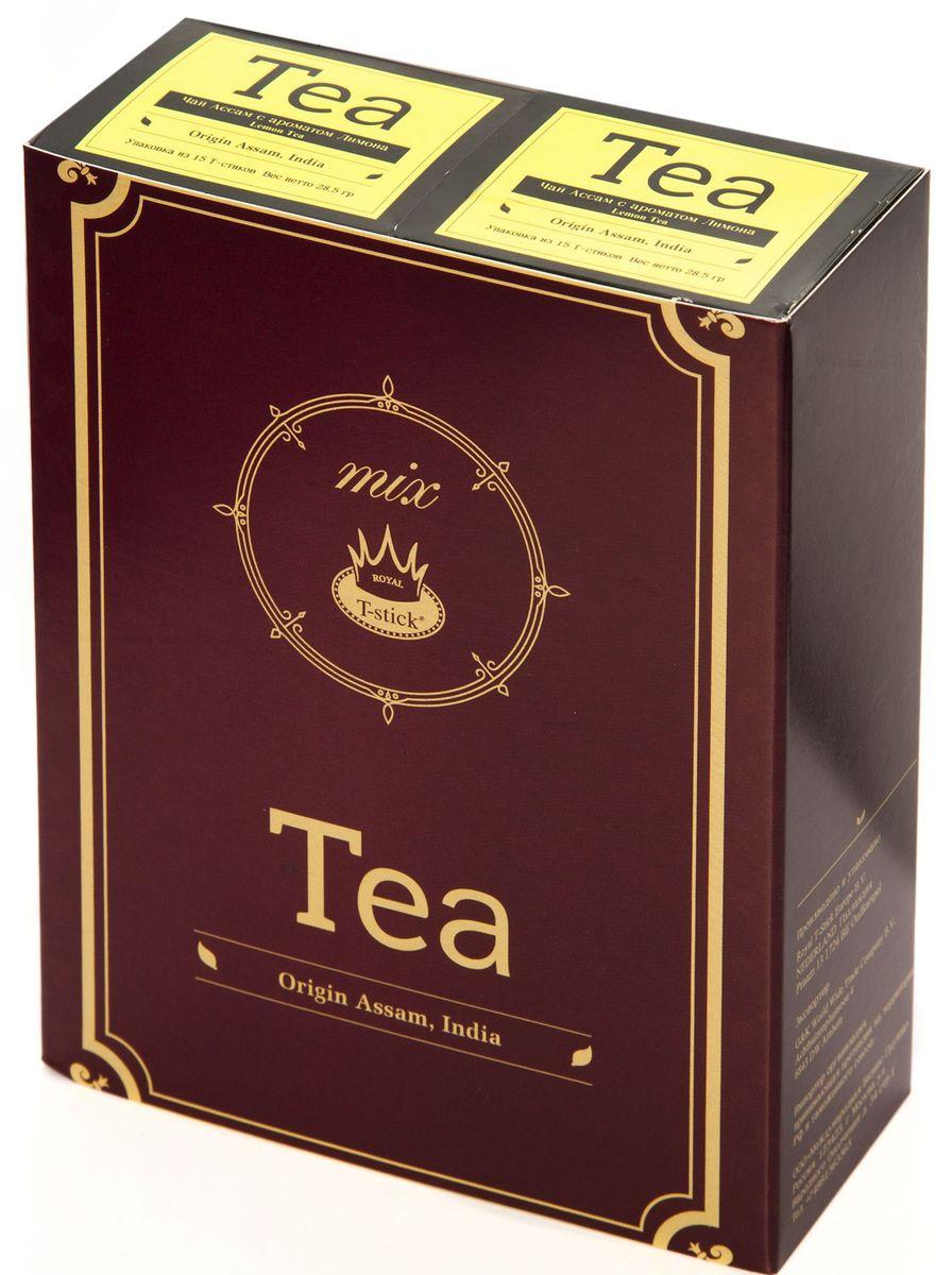 Подарочный набор Royal T-Stick: Lemon Tea черный чай и Lemon Tea черный чай в стиках, 30 шт77430Подарочный набор из 2 пачек чая премиум класса упакован в коробку для транспортировки. Натуральный черный чай с ароматом лимона порадует вас золотисто-медовым цветом, тонким ароматом лимона, который создается путем смешивания реального лимона и индийского чая из штата Ассам. Чай упакован в пищевую фольгу, которую можно использовать вместо ложечки для размешивания сахара. Опустите стик в кипяток, оставьте на 3 минуты, размешайте кусочек сахара. Достаньте стик из стакана, потрясите им о край стакана, так, чтобы стекли последние капли, и положите рядом. Вся влага останется внутри стика. Прекрасный подарок родным и близким и отличный повод удивить коллег по работе и друзей, внедряя новую, элегантную культуру чаепития!