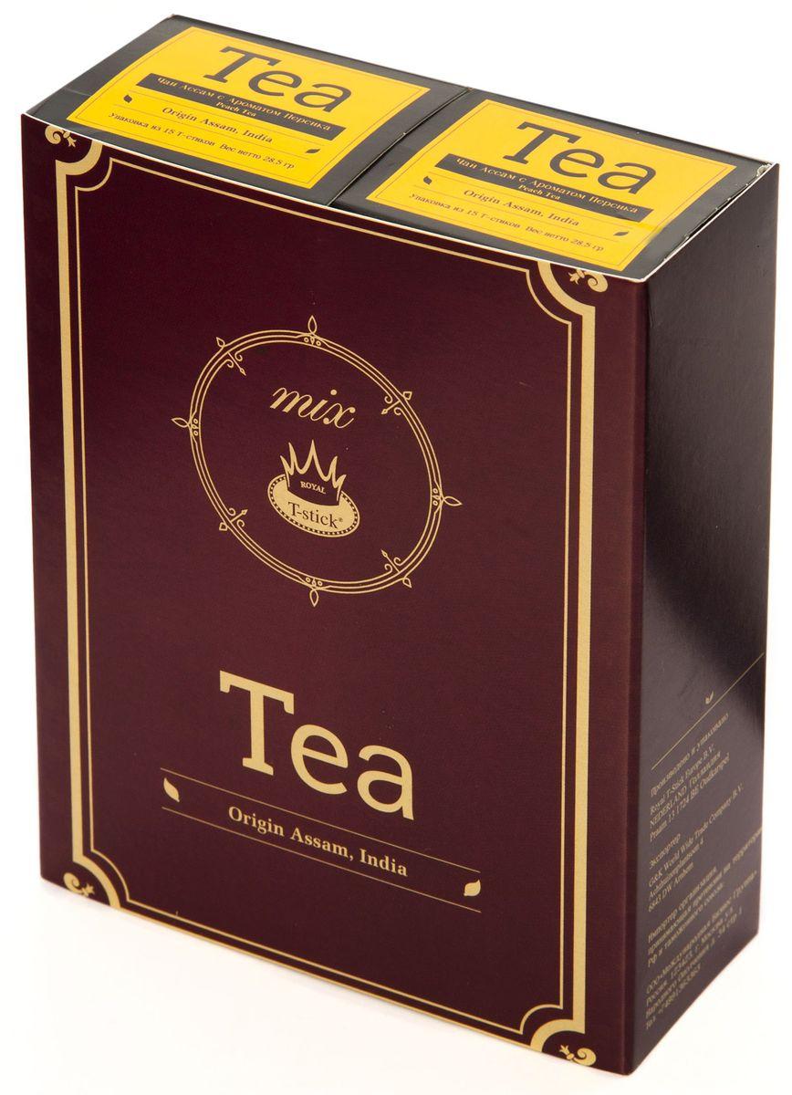 Подарочный набор Royal T-Stick: Peach Tea черный чай и Peach Tea черный чай в стиках, 30 шт77440Подарочный набор из 2- пачек чая премиум класса,упакован в коробку для транспортировки. Натуральный черный чай с ароматом персика порадует вас золотисто-медовым цветом, тонким ароматом персика и изысканным вкусом , который создается путем смешивания реальных кусочков персика и индийского чая из штата Ассам. Чай упакован в пищевую фольгу, которую можно использовать вместо ложечки для размешивания сахара. Опустите стик в кипяток, оставьте на 3 минуты, размешайте кусочек сахара. Достаньте стик из стакана, потрясите им о край стакана, так, чтобы стекли последние капли, и положите рядом. Вся влага останется внутри стика.Прекрасный подарок родным и близким,и отличный повод удивить коллег по работе и друзей, внедряя новую, элегантную культуру чаепития!