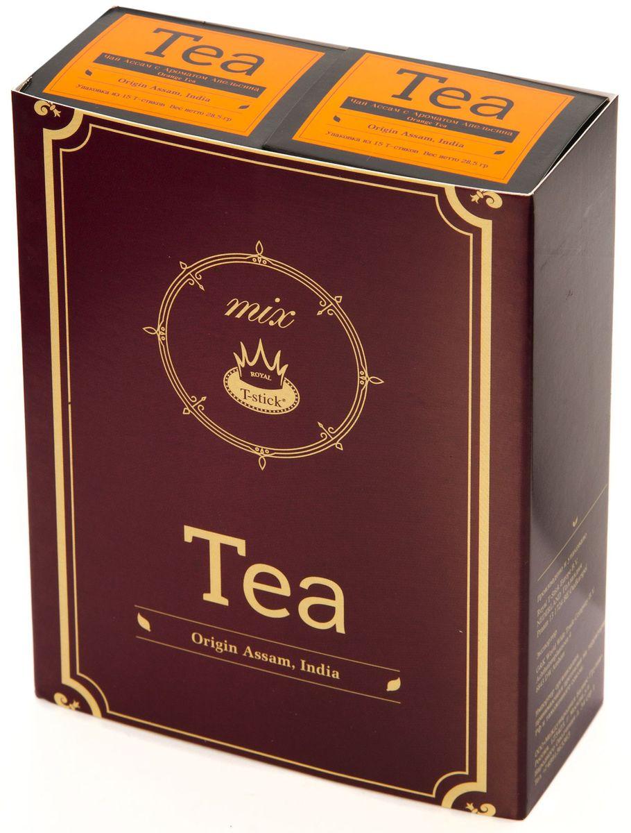 Подарочный набор Royal T-Stick: Orange Tea черный чай и Orange Tea черный чай в стиках, 30 шт77450Подарочный набор из 2- пачек чая премиум класса,упакован в коробку для транспортировки. Натуральный черный чай с ароматом апельсина порадует вас золотисто-медовым цветом, тонким ароматом персика и изысканным пряным вкусом , который создается путем смешивания реальных кусочков апельсина и индийского чая из штата Ассам. Чай упакован в пищевую фольгу, которую можно использовать вместо ложечки для размешивания сахара. Опустите стик в кипяток, оставьте на 3 минуты, размешайте кусочек сахара. Достаньте стик из стакана, потрясите им о край стакана, так, чтобы стекли последние капли, и положите рядом. Вся влага останется внутри стика.Прекрасный подарок родным и близким,и отличный повод удивить коллег по работе и друзей, внедряя новую, элегантную культуру чаепития!