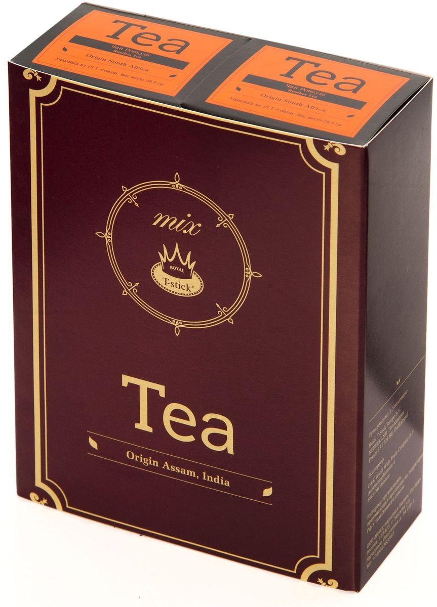 Подарочный набор Royal T-Stick: Rooibos Tea красный чай и Rooibos Tea красный чай в стиках, 30 шт77500Подарочный набор из 2- пачек чая премиум класса,упакован в коробку для транспортировки. Ройбош натуральный чай из листьев южноафриканского кустарника. Обладает сладковатым вкусом, с едва уловимыми ореховыми нотами. Чай обладает тонизирующим и бодрящим свойством. Снижает аппетит.Рекомендуется людям контролирующим свою массу тела. Чай упакован в пищевую фольгу, которую можно использовать вместо ложечки для размешивания сахара. Опустите стик в кипяток, оставьте на 3 минуты, размешайте кусочек сахара. Достаньте стик из стакана, потрясите им о край стакана, так, чтобы стекли последние капли, и положите рядом. Вся влага останется внутри стика.Прекрасный подарок родным и близким,и отличный повод удивить коллег по работе и друзей, внедряя новую, элегантную культуру чаепития!