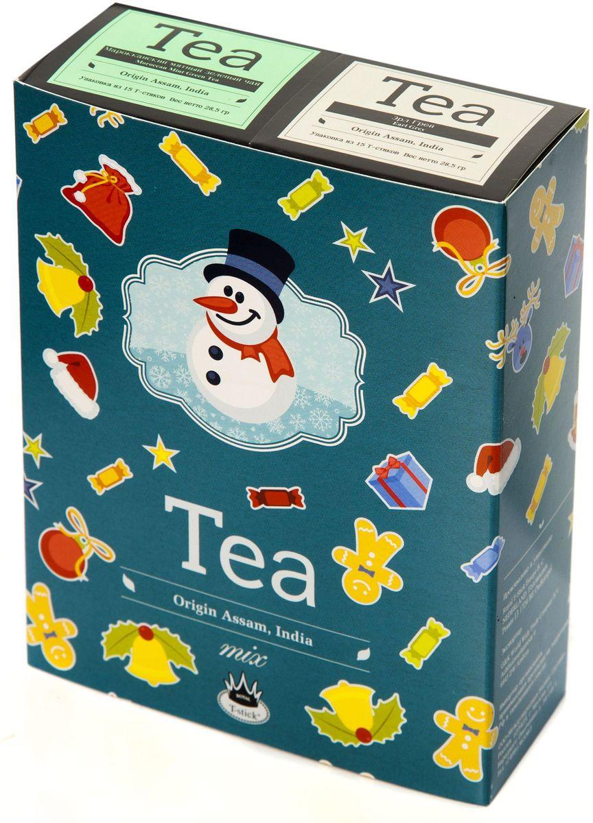 Подарочный набор Royal T-Stick: Earl Grey черный чай и Mint Green Tea зеленый чай в стиках, 30 шт78101Подарочный набор из 2- пачек чая премиум класса,упакован в коробку для транспортировки. Чай Ассам с бергамотом порадует вас насыщенным ,янтарно -красным цветом, терпким ароматом бергамота и пряным, солодово-медовым вкусом . Чай обладает тонизирующим свойством. Натуральный зеленый чай с ароматом мяты порадует вас своим тонким и нежным вкусом. Способствует расщеплению жиров и успокаивает нервную систему. Чай упакован в пищевую фольгу, которую можно использовать вместо ложечки для размешивания сахара. Опустите стик в кипяток, оставьте на 3 минуты, размешайте кусочек сахара. Достаньте стик из стакана, потрясите им о край стакана, так, чтобы стекли последние капли, и положите рядом. Вся влага останется внутри стика.Прекрасный подарок родным и близким,и отличный повод удивить коллег по работе и друзей, внедряя новую, элегантную культуру чаепития!