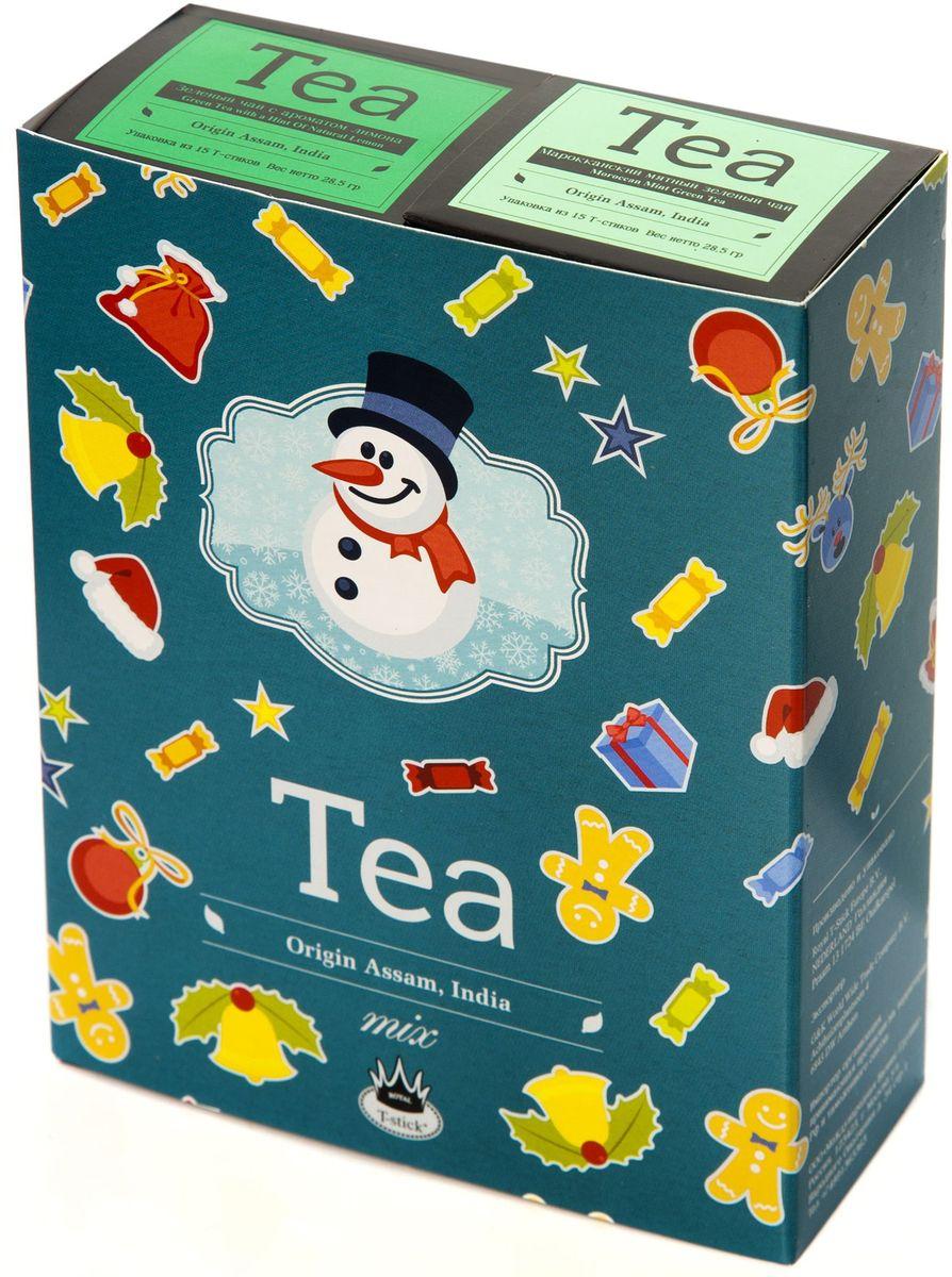 Подарочный набор Royal T-Stick: Mint Green Tea зеленый чай и Green Tea with a Hint of Natural Lemon зеленый чай в стиках, 30 шт78110Подарочный набор из 2- пачек чая премиум класса,упакован в коробку для транспортировки. Натуральный зеленый чай с ароматом мяты порадует вас своим тонким и нежным вкусом. Способствует расщеплению жиров и успокаивает нервную систему. Зеленый чай с ароматом лимона порадует Вас своим золотистым цветом ,нежным ароматом лимона и освежающим послевкусием.Обогащение зеленого чая ароматом лимона усиливает полезные свойства природных антиоксидантов. Чай упакован в пищевую фольгу, которую можно использовать вместо ложечки для размешивания сахара. Опустите стик в кипяток, оставьте на 3 минуты, размешайте кусочек сахара. Достаньте стик из стакана, потрясите им о край стакана, так, чтобы стекли последние капли, и положите рядом. Вся влага останется внутри стика.Прекрасный подарок родным и близким,и отличный повод удивить коллег по работе и друзей, внедряя новую, элегантную культуру чаепития!