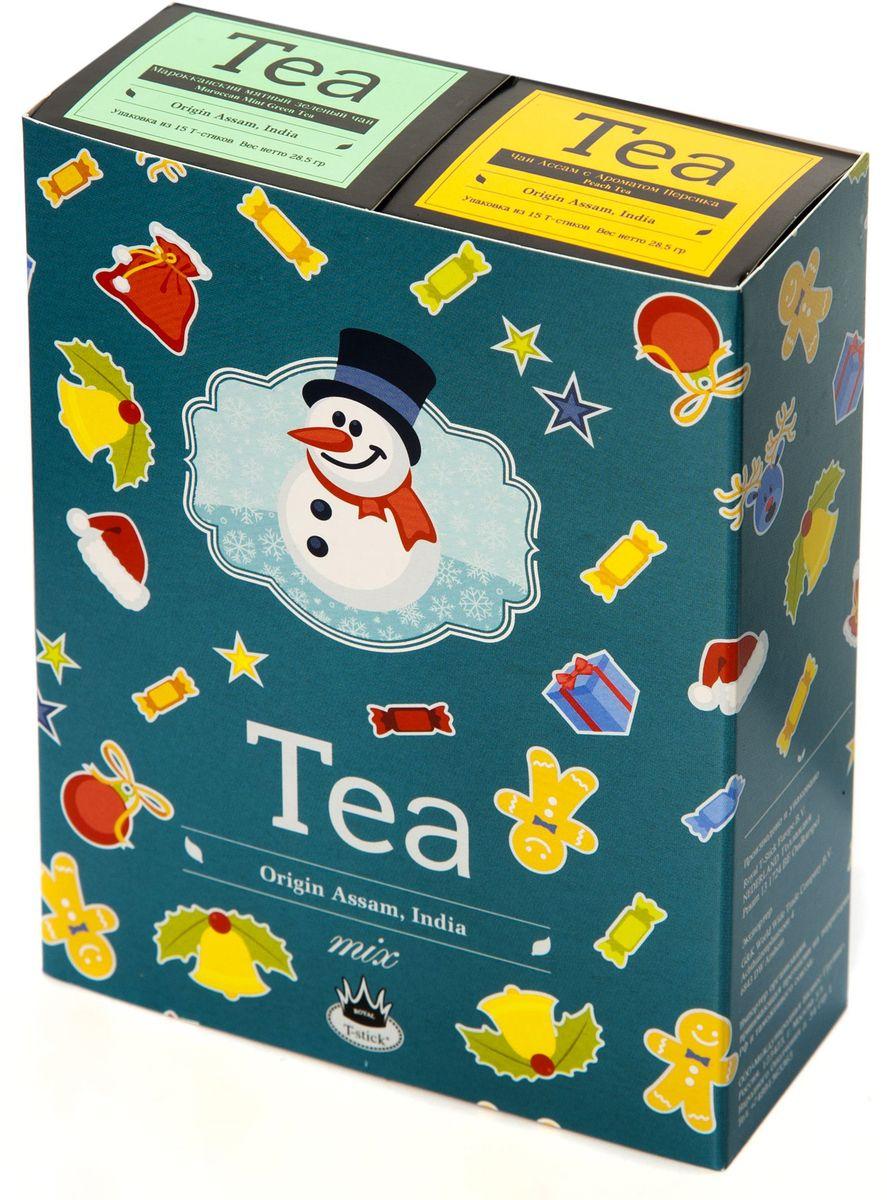 Подарочный набор Royal T-Stick: Mint Green Tea зеленый чай и Peach Tea черный чай в стиках, 30 шт78111Подарочный набор из 2- пачек чая премиум класса,упакован в коробку для транспортировки. Натуральный зеленый чай с ароматом мяты порадует вас своим тонким и нежным вкусом. Способствует расщеплению жиров и успокаивает нервную систему. Натуральный черный чай с ароматом персика порадует вас золотисто-медовым цветом, тонким ароматом персика и изысканным вкусом , который создается путем смешивания реальных кусочков персика и индийского чая из штата Ассам. Чай упакован в пищевую фольгу, которую можно использовать вместо ложечки для размешивания сахара. Опустите стик в кипяток, оставьте на 3 минуты, размешайте кусочек сахара. Достаньте стик из стакана, потрясите им о край стакана, так, чтобы стекли последние капли, и положите рядом. Вся влага останется внутри стика.Прекрасный подарок родным и близким,и отличный повод удивить коллег по работе и друзей, внедряя новую, элегантную культуру чаепития!