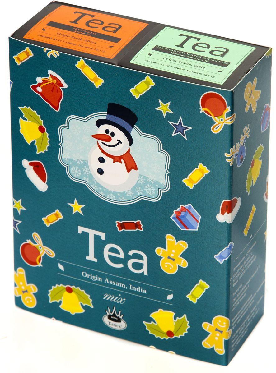 Подарочный набор Royal T-Stick: Mint Green Tea зеленый чай и Rooibos Tea красный чай в стиках, 30 шт78112Подарочный набор из 2- пачек чая премиум класса,упакован в коробку для транспортировки. Натуральный зеленый чай с ароматом мяты порадует вас своим тонким и нежным вкусом. Способствует расщеплению жиров и успокаивает нервную систему. Ройбош натуральный чай из листьев южноафриканского кустарника. Обладает сладковатым вкусом, с едва уловимыми ореховыми нотами. Чай обладает тонизирующим и бодрящим свойством. Снижает аппетит.Рекомендуется людям контролирующим свою массу тела. Чай упакован в пищевую фольгу, которую можно использовать вместо ложечки для размешивания сахара. Опустите стик в кипяток, оставьте на 3 минуты, размешайте кусочек сахара. Достаньте стик из стакана, потрясите им о край стакана, так, чтобы стекли последние капли, и положите рядом. Вся влага останется внутри стика.Прекрасный подарок родным и близким,и отличный повод удивить коллег по работе и друзей, внедряя новую, элегантную культуру чаепития!