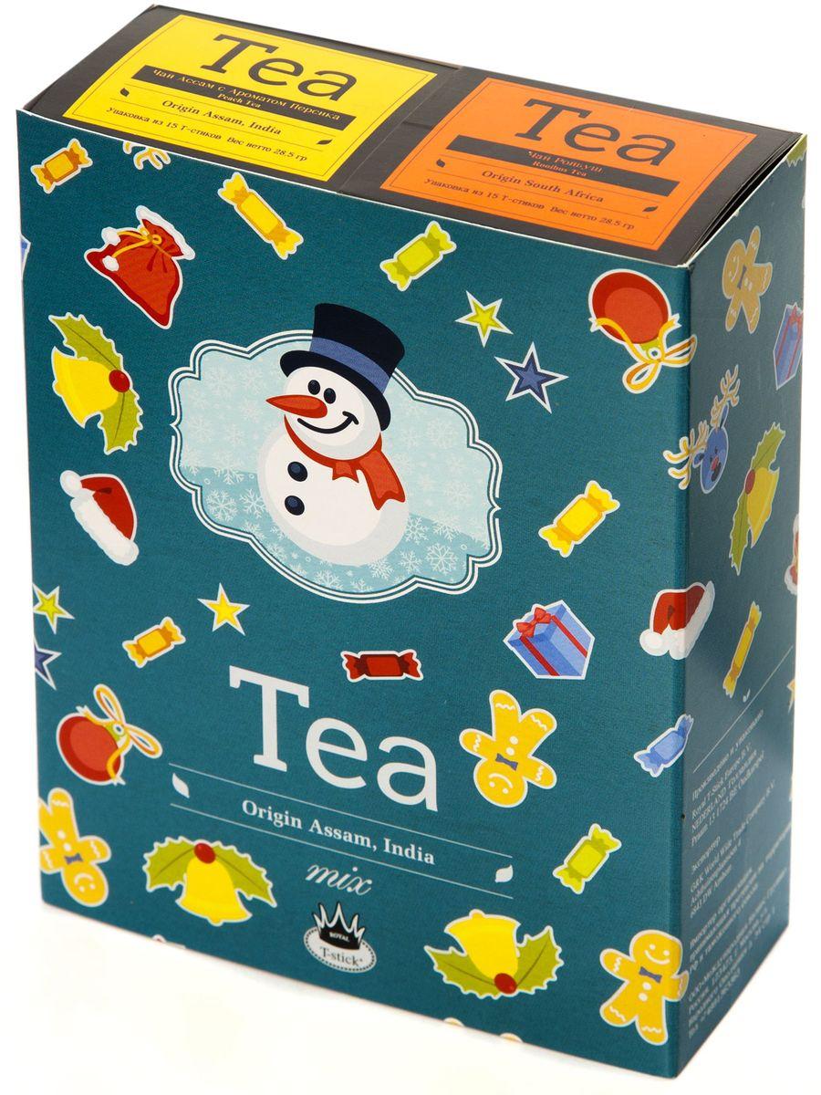 Подарочный набор Royal T-Stick: Rooibos Tea красный чай и Peach Tea черный чай в стиках, 30 шт78119Подарочный набор из 2- пачек чая премиум класса,упакован в коробку для транспортировки. Ройбош натуральный чай из листьев южноафриканского кустарника. Обладает сладковатым вкусом, с едва уловимыми ореховыми нотами. Чай обладает тонизирующим и бодрящим свойством. Снижает аппетит.Рекомендуется людям контролирующим свою массу тела. Натуральный черный чай с ароматом персика порадует вас золотисто-медовым цветом, тонким ароматом персика и изысканным вкусом , который создается путем смешивания реальных кусочков персика и индийского чая из штата Ассам. Чай упакован в пищевую фольгу, которую можно использовать вместо ложечки для размешивания сахара. Опустите стик в кипяток, оставьте на 3 минуты, размешайте кусочек сахара. Достаньте стик из стакана, потрясите им о край стакана, так, чтобы стекли последние капли, и положите рядом. Вся влага останется внутри стика.Прекрасный подарок родным и близким,и отличный повод удивить коллег по работе и друзей, внедряя новую, элегантную культуру чаепития!