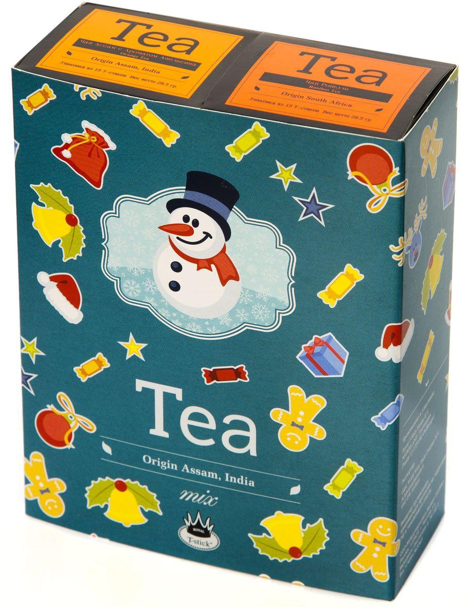 Подарочный набор Royal T-Stick: Rooibos Tea красный чай и Orange Tea черный чай в стиках, 30 шт78121Подарочный набор из 2- пачек чая премиум класса,упакован в коробку для транспортировки. Ройбош натуральный чай из листьев южноафриканского кустарника. Обладает сладковатым вкусом, с едва уловимыми ореховыми нотами. Чай обладает тонизирующим и бодрящим свойством. Снижает аппетит.Рекомендуется людям контролирующим свою массу тела. Натуральный черный чай с ароматом апельсина порадует вас золотисто-медовым цветом, тонким ароматом персика и изысканным пряным вкусом , который создается путем смешивания реальных кусочков апельсина и индийского чая из штата Ассам. Чай упакован в пищевую фольгу, которую можно использовать вместо ложечки для размешивания сахара. Опустите стик в кипяток, оставьте на 3 минуты, размешайте кусочек сахара. Достаньте стик из стакана, потрясите им о край стакана, так, чтобы стекли последние капли, и положите рядом. Вся влага останется внутри стика.Прекрасный подарок родным и близким,и отличный повод удивить коллег по работе и друзей, внедряя новую, элегантную культуру...