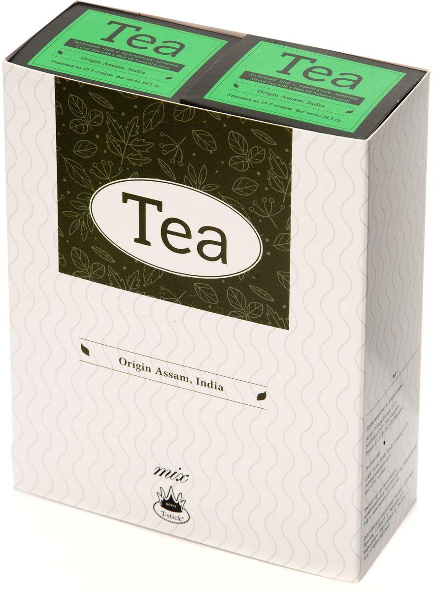 Подарочный набор Royal T-Stick: Green Tea with a Hint of Natural Lemon зеленый чай и Green Tea with a Hint of Natural Lemon зеленый чай в стиках, 30 шт78300Подарочный набор из 2 пачек чая премиум класса упакован в коробку для транспортировки. Зеленый чай с ароматом лимона порадует вас своим золотистым цветом, нежным ароматом лимона и освежающим послевкусием. Обогащение зеленого чая ароматом лимона усиливает полезные свойства природных антиоксидантов. Чай упакован в пищевую фольгу, которую можно использовать вместо ложечки для размешивания сахара. Опустите стик в кипяток, оставьте на 3 минуты, размешайте кусочек сахара. Достаньте стик из стакана, потрясите им о край стакана, так, чтобы стекли последние капли, и положите рядом. Вся влага останется внутри стика. Прекрасный подарок родным и близким и отличный повод удивить коллег по работе и друзей, внедряя новую, элегантную культуру чаепития!