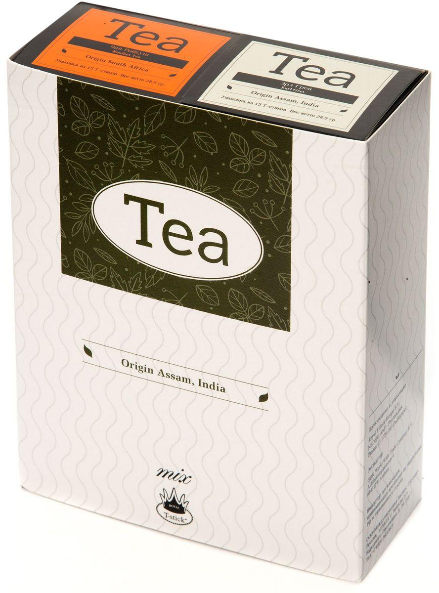 Подарочный набор Royal T-Stick: Earl Grey черный чай и Rooibos Tea красный чай в стиках, 30 шт78800Подарочный набор из 2- пачек чая премиум класса,упакован в коробку для транспортировки. Чай Ассам с бергамотом порадует вас насыщенным ,янтарно -красным цветом, терпким ароматом бергамота и пряным, солодово-медовым вкусом . Чай обладает тонизирующим свойством. Ройбош натуральный чай из листьев южноафриканского кустарника. Обладает сладковатым вкусом, с едва уловимыми ореховыми нотами. Чай обладает тонизирующим и бодрящим свойством. Снижает аппетит.Рекомендуется людям контролирующим свою массу тела. Чай упакован в пищевую фольгу, которую можно использовать вместо ложечки для размешивания сахара. Опустите стик в кипяток, оставьте на 3 минуты, размешайте кусочек сахара. Достаньте стик из стакана, потрясите им о край стакана, так, чтобы стекли последние капли, и положите рядом. Вся влага останется внутри стика.Прекрасный подарок родным и близким,и отличный повод удивить коллег по работе и друзей, внедряя новую, элегантную культуру чаепития!
