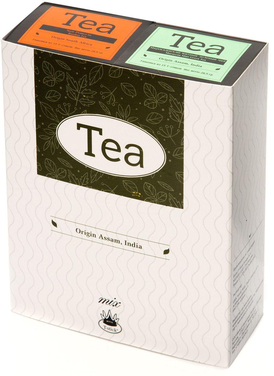 Подарочный набор Royal T-Stick: Mint Green Tea зеленый чай и Rooibos Tea красный чай в стиках, 30 шт78900Подарочный набор из 2- пачек чая премиум класса,упакован в коробку для транспортировки. Натуральный зеленый чай с ароматом мяты порадует вас своим тонким и нежным вкусом. Способствует расщеплению жиров и успокаивает нервную систему. Ройбош натуральный чай из листьев южноафриканского кустарника. Обладает сладковатым вкусом, с едва уловимыми ореховыми нотами. Чай обладает тонизирующим и бодрящим свойством. Снижает аппетит.Рекомендуется людям контролирующим свою массу тела. Чай упакован в пищевую фольгу, которую можно использовать вместо ложечки для размешивания сахара. Опустите стик в кипяток, оставьте на 3 минуты, размешайте кусочек сахара. Достаньте стик из стакана, потрясите им о край стакана, так, чтобы стекли последние капли, и положите рядом. Вся влага останется внутри стика.Прекрасный подарок родным и близким,и отличный повод удивить коллег по работе и друзей, внедряя новую, элегантную культуру чаепития!