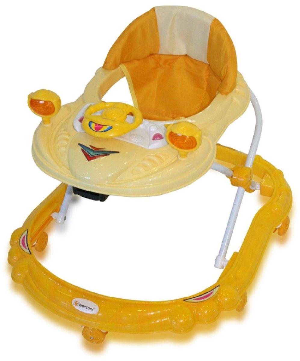 Bertoni Ходунки BW 14 цвет желтый3801201400005Ходунки Bertoni BW 14 – это незаменимый помощник в приобретении малышом такого важного навыка, как умение ходить. Характеристики: В случае необходимости ходунки можно легко сложить по типу «гармошки». Основание очень широкое, что обеспечивает всей конструкции максимальную устойчивость. Конструкцией предусмотрено семь пар поворотных колес, которые обеспечивают плавное передвижение модуля по полу. Сидение сделано из мягкого материала, который можно легко почистить или помыть. Ходунки Bertoni BW 14 по высоте регулируются в трех положениях, подстраиваясь под рост малыша. Игровой центр легко снимается, следовательно, лотком представляется возможным воспользоваться как столиком. Продукт сертифицирован, отвечает европейским нормам качества и безопасности, годен для использования с маленькими детьми. Модуль сделан в ярких цветах, что благоприятно воздействует на психику и эмоциональное состояние крохи. Положение высоты кресла 3 Количество колес 8 Материал колес: пластиковые