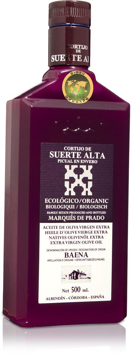 Suerte Alta Пикуаль оливковое масло Extra Virgin, 500 мл8437009165027Суэртэ Альта Пикуаль - нерафинированное оливковое масло первого холодного отжима (Extra Virgin Olive Oil) Премиум класса Кислотностью 0,2%, которая является личебной по испанским законам. ЭКОЛОГИЧЕСКИЙ ФЕРМЕРСКИЙ ПРОДУКТ из оливок сорта Пикуаль раннего сбора урожая. Диетический продукт! ОРГАНИЧЕСКОЕ оливковое масло Extra Virgin CORTIJO DE SUERTE ALTA от семьи Мануэля Эредия Альскон, маркиза Прадо. Компания основана его дедом в 1924 году. С 1996 года компания официально занимается Органическим сельским хозяйством, о чем свидетельствует сертификат C.A.A.E.- Совета по органическому земледелию Андалусии, а также аналогичные сертификаты США, Японии и Европейского совета. Поместье находится недалеко от городка Баэна (провинция Кордоба) - официальной столицы оливкового масла Испании. Именно здесь ежегодно проходит праздник молодого оливкового масла
