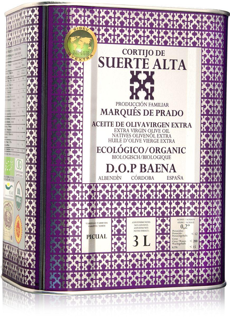 Suerte Alta Пикуаль оливковое масло Extra Virgin, 3 л8437009165065Суэртэ Альта Пикуаль - нерафинированное оливковое масло первого холодного отжима (Extra Virgin Olive Oil) Премиум класса Кислотностью 0,2%, которая является личебной по испанским законам. ЭКОЛОГИЧЕСКИЙ ФЕРМЕРСКИЙ ПРОДУКТ из оливок сорта Пикуаль раннего сбора урожая. Диетический продукт! ОРГАНИЧЕСКОЕ оливковое масло Extra Virgin CORTIJO DE SUERTE ALTA от семьи Мануэля Эредия Альскон, маркиза Прадо. Компания основана его дедом в 1924 году. С 1996 года компания официально занимается Органическим сельским хозяйством, о чем свидетельствует сертификат C.A.A.E.- Совета по органическому земледелию Андалусии, а также аналогичные сертификаты США, Японии и Европейского совета. Поместье находится недалеко от городка Баэна (провинция Кордоба) - официальной столицы оливкового масла Испании. Именно здесь ежегодно проходит праздник молодого оливкового масла