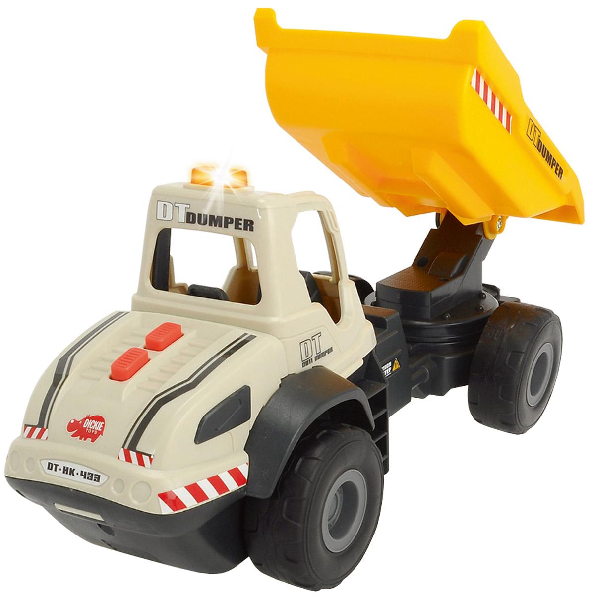 Dickie Toys Самосвал цвет серый желтый3726002Самосвал Dickie Toys является достойным представителем игрушечной строительной техники. Мощный самосвал выполнен очень реалистично и полностью функционален. Движение кузова управляется с помощью двух кнопок, расположенных на капоте, и сопровождается характерными звуками. Одна кнопка поднимает кузов, другая опускает. При движении кузова загорается оранжевая лампочка на крыше самосвала. Большие и устойчивые колеса самосвала прекрасно справляются с любой поверхностью. С таким многофункциональным самосвалом ребенку будет очень интересно играть и дома, и на улице в песочнице. Рекомендуется докупить 2 батарейки напряжением 1,5V типа АА (товар комплектуется демонстрационными).