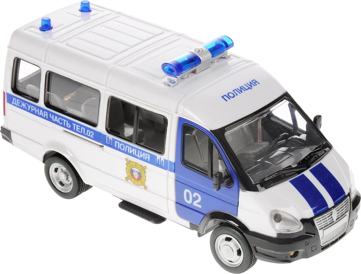 ТехноПарк Машинка инерционная Газель ПолицияX600-H09002-RИнерционная машинка ТехноПарк Газель Полиция полностью повторяет оригинальный прототип - полицейскую машину. Автомобиль обладает завидной функциональностью: двери можно открывать, имеется инерционный механизм, а также модель оснащена впечатляющими световыми (светятся огни) и звуковыми эффектами. Эта замечательная машинка достойна стать как предметом сюжетно-ролевых игр, так и частью коллекции автолюбителя. Рекомендуется докупить 3 батарейки напряжением 1,5V типа AG13/LR44 (товар комплектуется демонстрационными). Крыша машинки изготовлена из пластика.
