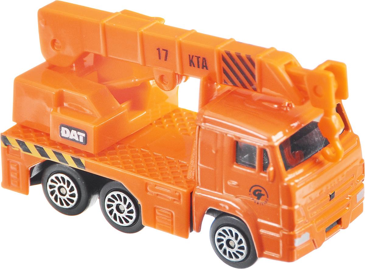 ТехноПарк Автокран КамАЗ 66CT12-439-WB_оранжевый/2Автокран ТехноПарк КамАЗ 66 будет отличным дополнением к уже имеющейся коллекции машинок от Технопарк или же может стать ее началом. Ее отличают аутентичный дизайн, хорошая детализация, металлический корпус с пластиковыми элементами. Стрела автокрана подвижна, а колеса имеют свободный ход. Изготовлена машинка с соблюдением масштаба 1/72.