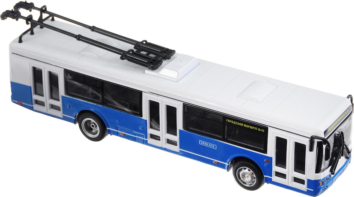 ТехноПарк Троллейбус инерционный Городской маршрут номер 16X600-H09049-RИнерционный троллейбус ТехноПарк Городской маршрут номер 16, выполненный из пластика и металла, станет любимой игрушкой вашего малыша. Игрушка представляет собой один из видов общественного транспорта - троллейбус. Игрушка оснащена инерционным ходом. Троллейбус необходимо отвести назад, затем отпустить - и он быстро поедет вперед. Ваш ребенок будет увлеченно играть с этой игрушкой, придумывая различные истории. Порадуйте его таким замечательным подарком!