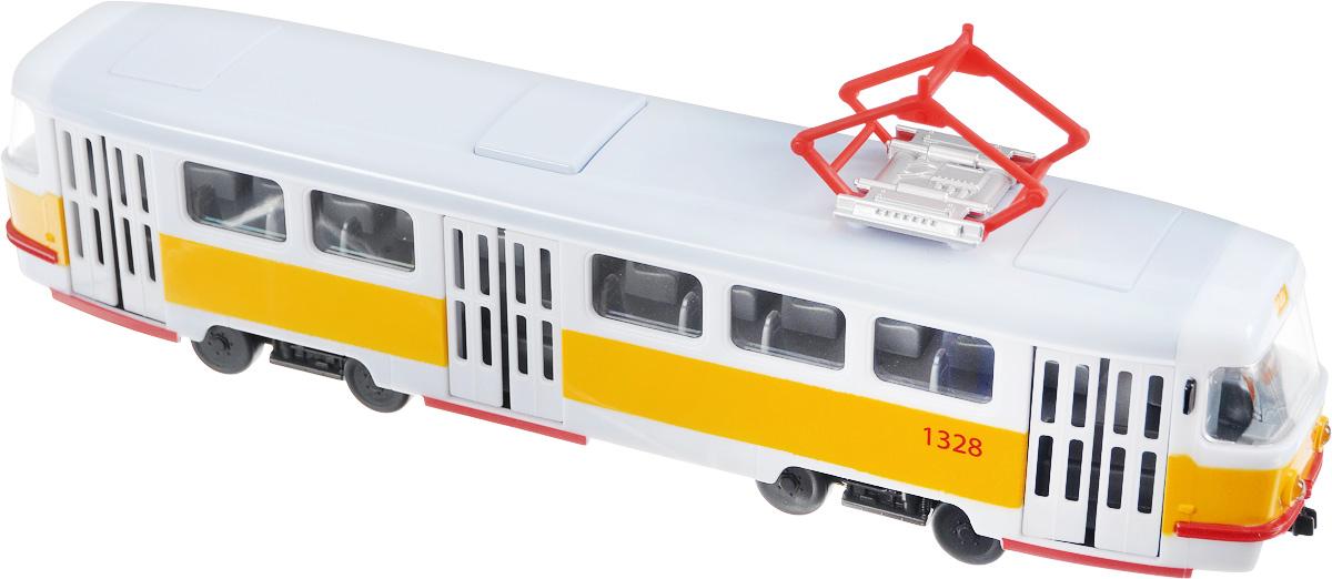 ТехноПарк Трамвай цвет белый желтыйX600-H36002-RТрамвай ТехноПарк, выполненный из пластика с металлическими элементами, станет любимой игрушкой вашего малыша. Игрушка представляет собой модель трамвая. Дверцы салона открываются. Стекла в трамвае прозрачные, поэтому можно внимательно изучить внутреннюю часть игрушки. Внутри находятся сиденья, водительское место и все иные важные детали. Игрушка обладает световыми и звуковыми эффектами. Ваш ребенок будет увлеченно играть с этой игрушкой, придумывая различные истории. Порадуйте его таким замечательным подарком! Рекомендуется докупить 3 батарейки напряжением 1,5V типа AG13/LR44 (товар комплектуется демонстрационными).