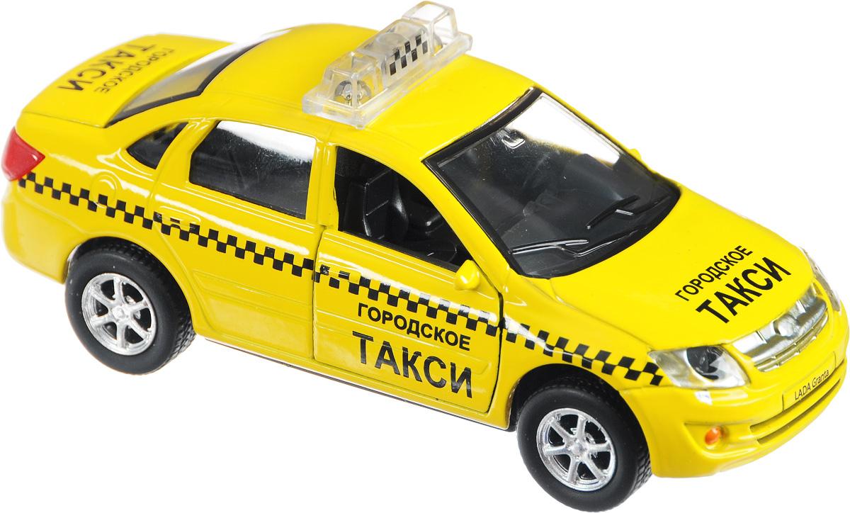 ТехноПарк Машинка инерционная LADA Granta Городское таксиSB-13-15-6Дверцы замечательного желтого такси ТехноПарк LADA Granta с легкостью открываются навстречу пассажирам. Благодаря звуковым и световым эффектам авто невозможно не заметить даже в темное время суток. Багажник и передние двери такси открываются. Игрушка оснащена инерционным ходом. Машинку необходимо отвести назад, затем отпустить - и она самостоятельно поедет вперед. Прорезиненные колеса обеспечивают надежное сцепление с любой поверхностью пола. Рекомендуется докупить 3 батарейки напряжением 1,5V типа LR41 (товар комплектуется демонстрационными).