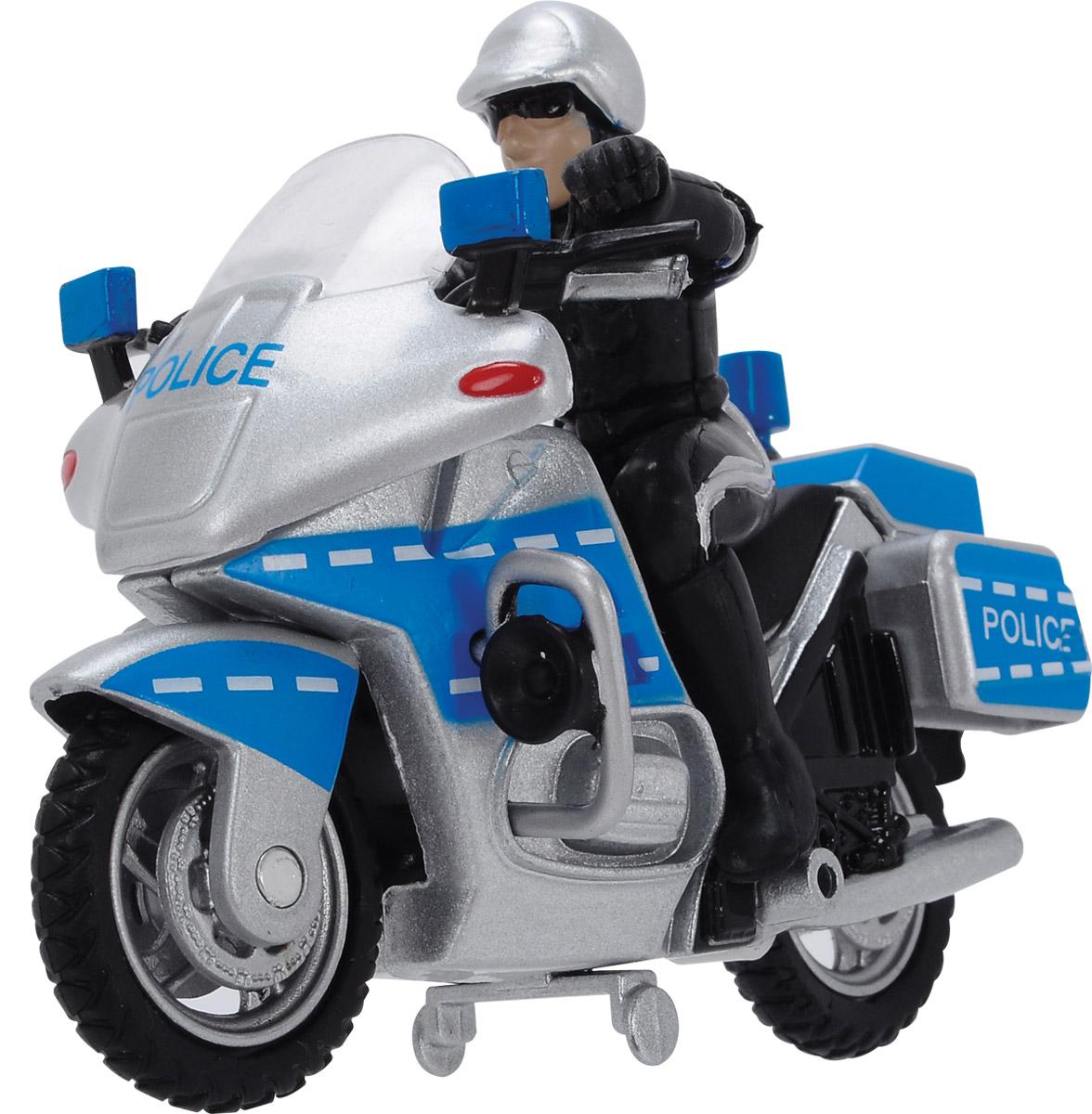 Dickie Toys Полицейский байк3342001Полицейский байк Dickie Toys представлен полицейским мотоциклом, фигуркой мотоциклиста и дорожными знаками. Дизайн мотоцикла хорошо проработан. Пропорции и наличие всех атрибутов (стекло, зеркала, педали, подножка, структура дисков) придают игрушечному мотоциклу сходство с настоящим транспортным средством. Такая игрушка позволит моделировать сюжеты из жизни патрульного полицейского.