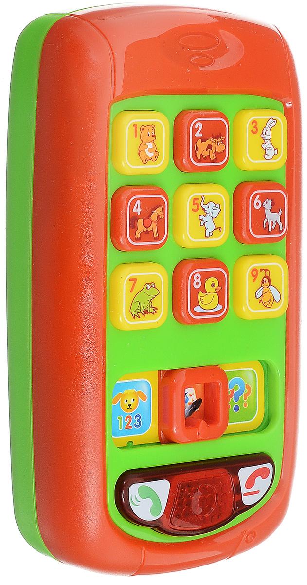 Умка Развивающая игрушка Обучающий телефон цвет красный зеленый4203T-RРазвивающая игрушка Умка Обучающий телефон обязательно порадует малыша. Телефон содержит 6 стихов Агнии Барто и 3 песни на стихи Агнии Барто. Имеет три режима работы. Малыш с помощью игрушки научится цифрам, выучит названия животных, новые фразы, прослушает различные мелодии. Он может выбрать режим и проверить свои знания, при сдаче экзамена. Игрушка имеет световые эффекты. Телефон выполнен из прочного и высококачественного материала. Развивает зрение, память, внимание, моторику, слух и воображение. Рекомендуется докупить 2 батарейки напряжением 1,5V типа ААА (товар комплектуется демонстрационными).