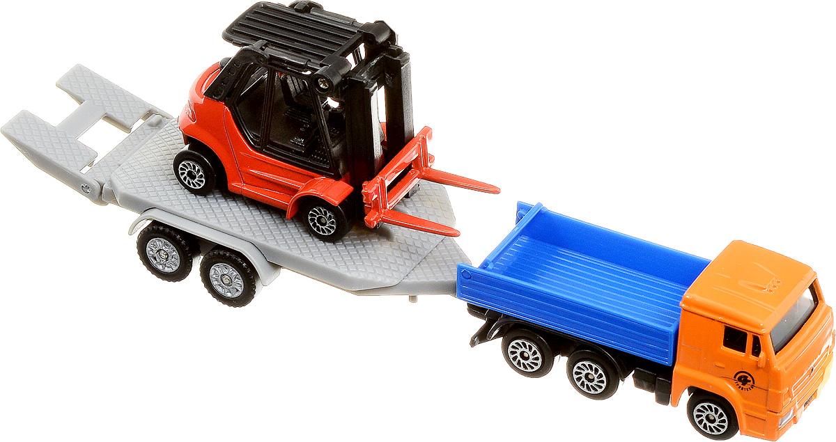 ТехноПарк Набор машинок КамАЗ с погрузчиком 2 штSB-15-47_грузовик, погрузчикНабор машинок ТехноПарк КамАЗ с погрузчиком включает в себя грузовую машину с прицепом и машинку-погрузчик. У грузовика отсоединяется прицеп с откидывающимся трапом, вилы у погрузчика могут подниматься и опускаться. Выполненные из высококачественных материалов, машинки обязательно понравится не только ребенку, но и взрослому. Игрушечные модели с высокой детализацией оснащены металлическими корпусами и подвижными колесами. Машинки являются отличным подарком для юного гонщика или взрослого коллекционера техники. Ваш ребенок будет часами играть с этим набором, придумывая различные истории. Настоящая радость для ребенка, особенно если он неравнодушен к технике!
