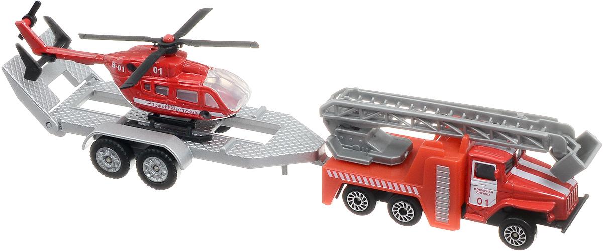 ТехноПарк Машинка Пожарная служба с вертолетом на прицепеSB-15-44WBМашинка ТехноПарк Пожарная служба с вертолетом на прицепе обязательно заинтересует всех любителей машинок. Юные пожарники не только смогут примчаться на помощь и спасти людей, но и помочь другому транспорту, который не может передвигаться самостоятельно, отбуксировать его в нужное им место.