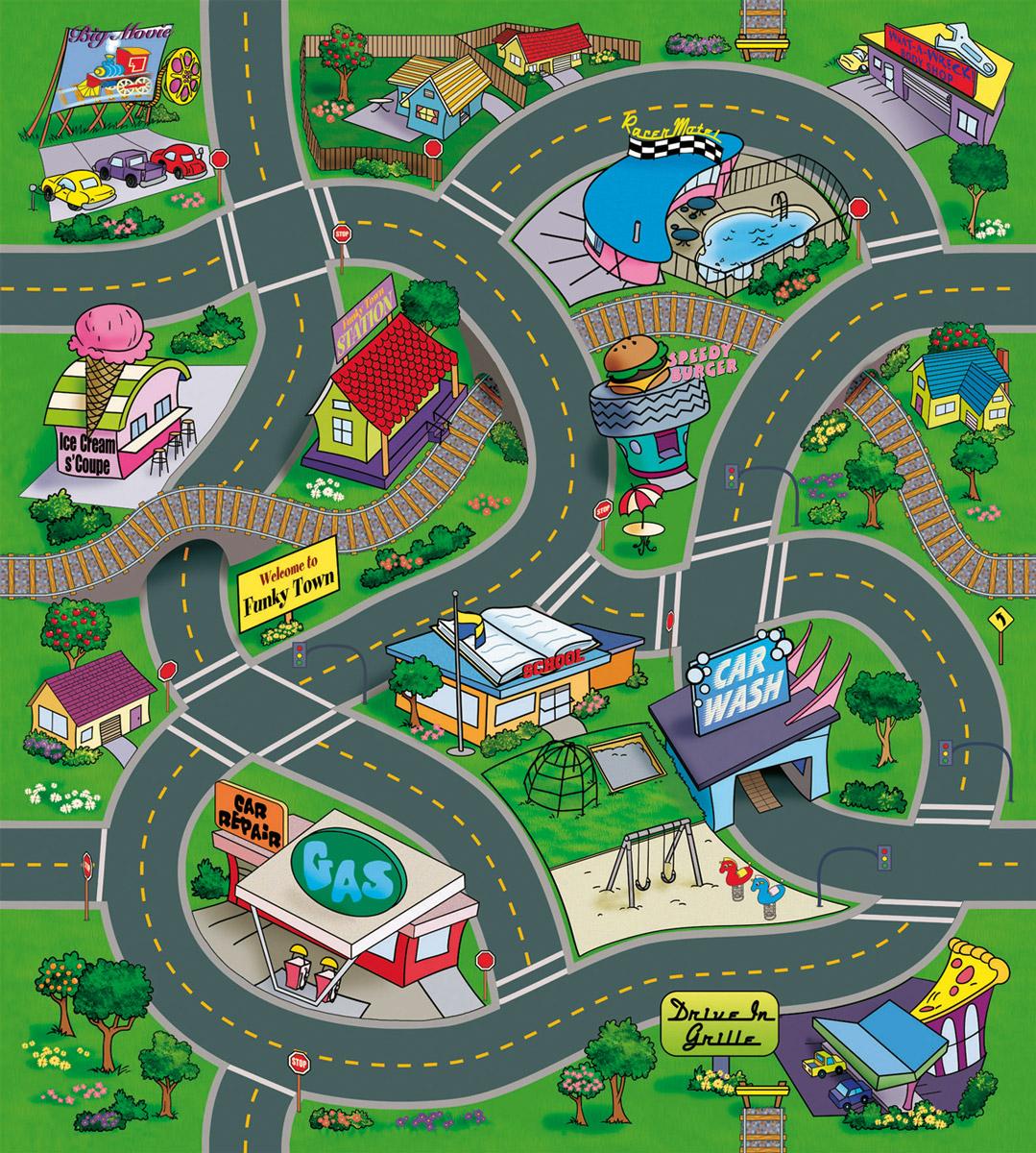 Majorette Игровой набор Funky Town3745003Игровой коврик Majorette Funky Town - прекрасный подарок для любого мальчика. С ним ребенок познакомится с особенностями движения автомобилей в населенном пункте. Коврик выполнен из приятного на ощупь нетканого материала. На нем изображены фрагменты дорог в городе. В комплект входят металлическая машинка со свободным ходом и дополнительные пластиковые элементы: 10 дорожных знаков и 2 ограждения. Порадуйте вашего ребенка таким замечательным подарком!