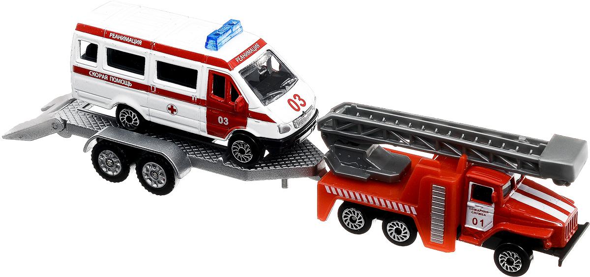 ТехноПарк Машинка Пожарная служба со скорой помощью на прицепеSB-15-44WB_Пожарная техника и Скорая помощьПожарная служба со скорой помощью на прицепе ТехноПарк обязательно заинтересует всех любителей машинок. Юные пожарники не только смогут примчаться на помощь и спасти людей, но и помочь другому транспорту, который не может передвигаться самостоятельно, отбуксировать его в нужное им место. Отличный вид и цветовое исполнение игрушек обязательно понравится всем мальчикам.