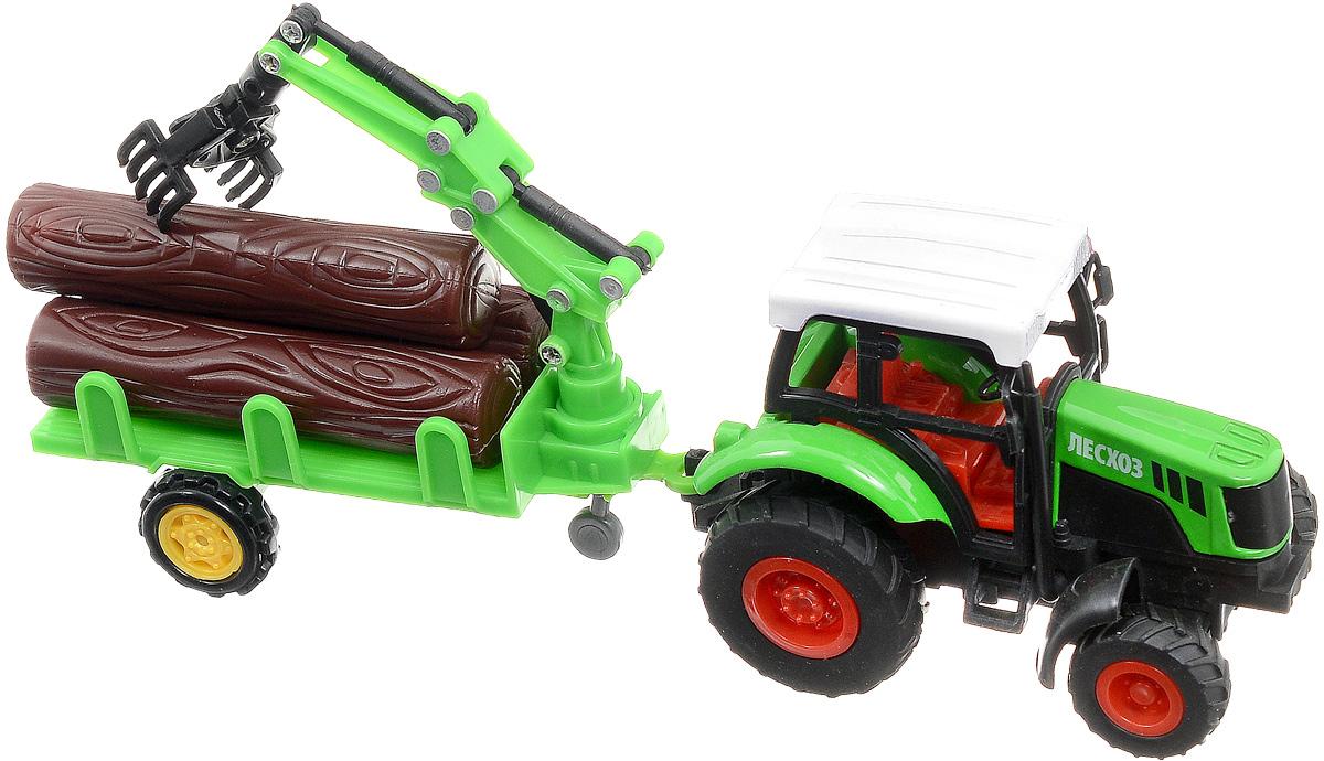 ТехноПарк Трактор инерционный с прицепом1254423-RТрактор ТехноПарк изготовленный из прочного и безопасного материала, станет любимой игрушкой вашего малыша. Игрушка представляет собой модель трактора зеленого цвета с прицепом и бревнами. Трактор оснащен инерционным механизмом. Прицеп может с легкостью отсоединяться от трактора. Трактор отлично подойдет для игр ребенка дома, или на свежем воздухе. Ребристые колеса трактора обеспечивают прочное сцепление с дорогой, не давая скользить технике по полу.