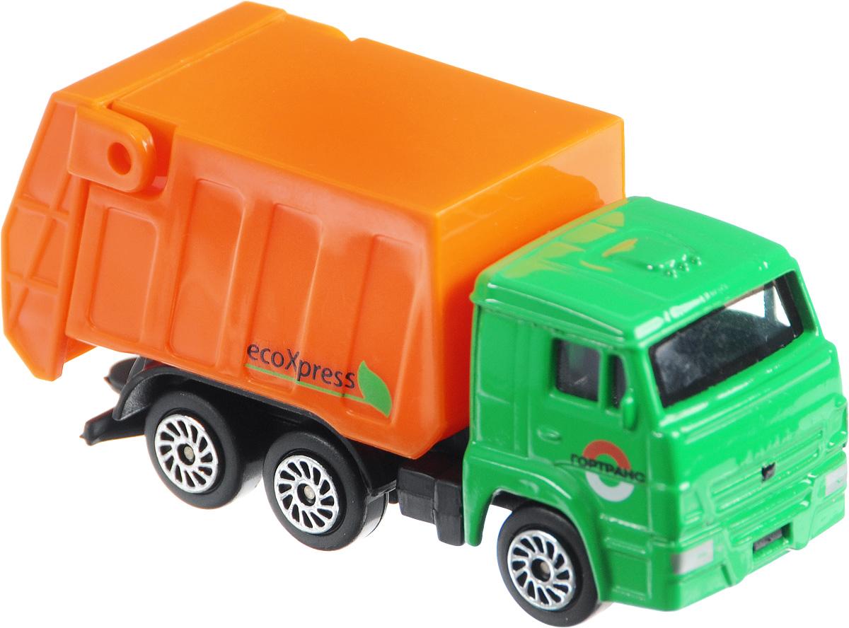 ТехноПарк Мусоровоз КамАЗ 66CT12-439-WB_зеленый/оранжевый/2Мусоровоз ТехноПарк КамАЗ 66, выполненный из безопасного материала, станет любимой игрушкой вашего малыша. Изделие представляет собой мусоровоз, выполненный в масштабе 1/72. Оснащен поднимающейся задней крышкой, а колеса имеют свободный ход. Ваш ребенок будет часами играть с этим мусоровозом, придумывая различные истории. Подарите вашему малышу возможность почувствовать себя настоящим водителем.