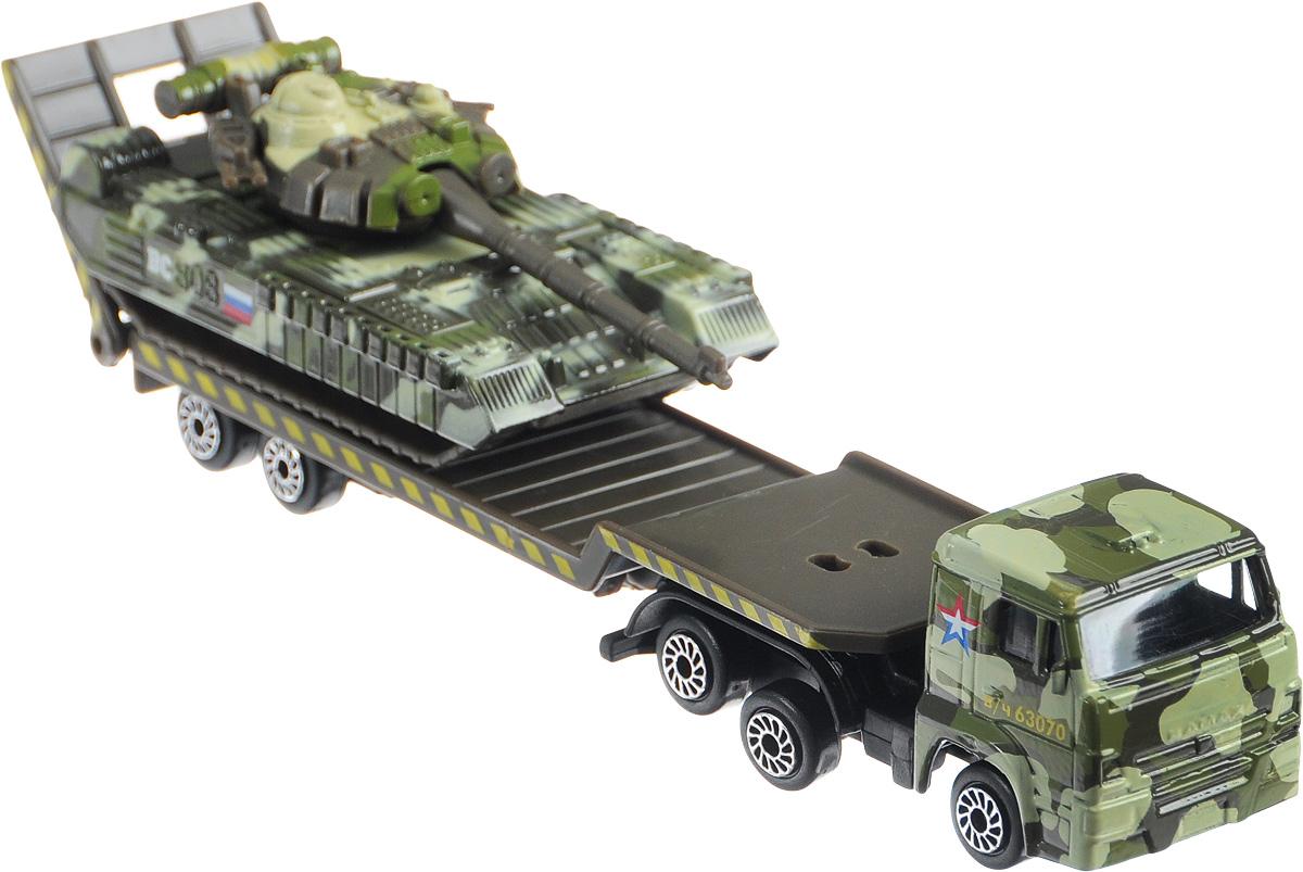 ТехноПарк Набор машинок Транспортер КамАЗ с танком SB-15-04-4-WBSB-15-04-4-WBНабор машинок ТехноПарк Транспортер КамАЗ с танком включает в себя машину-автотранспортер и танк. У транспортера отсоединяется прицеп и откидывается пандус. Выполненные из высококачественных материалов, машинки обязательно понравится не только ребенку, но и взрослому. Игрушечные модели с высокой детализацией оснащены металлическими корпусами и подвижными колесами. Машинки являются отличным подарком для юного гонщика или взрослого коллекционера техники. Ваш ребенок будет часами играть с этим набором, придумывая различные истории. Настоящая радость для ребенка, особенно если он неравнодушен к технике!