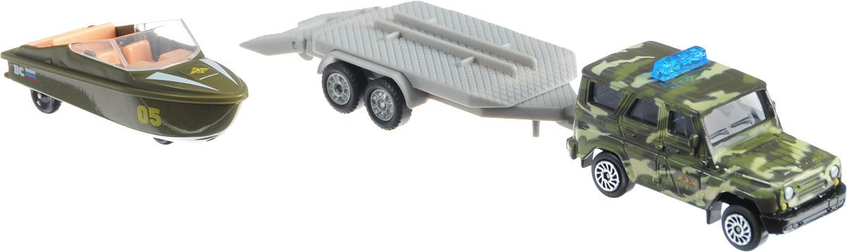 ТехноПарк Набор машинок УАЗ Вооруженные силы с лодкой на прицепеSB-16-35-M-WBНабор машинок ТехноПарк УАЗ Вооруженные силы с лодкой на прицепе станет отличным подарком для мальчика. Кабина машины и корпус лодки выполнены из металла; прицеп, лестница и внутренняя отделка лодки - из пластика. В днище лодки имеются колесики, поэтому лодку можно катать, как обычную машинку. Прицеп отсоединяется, пандус опускается. Сделайте вашему ребенку такой великолепный подарок!